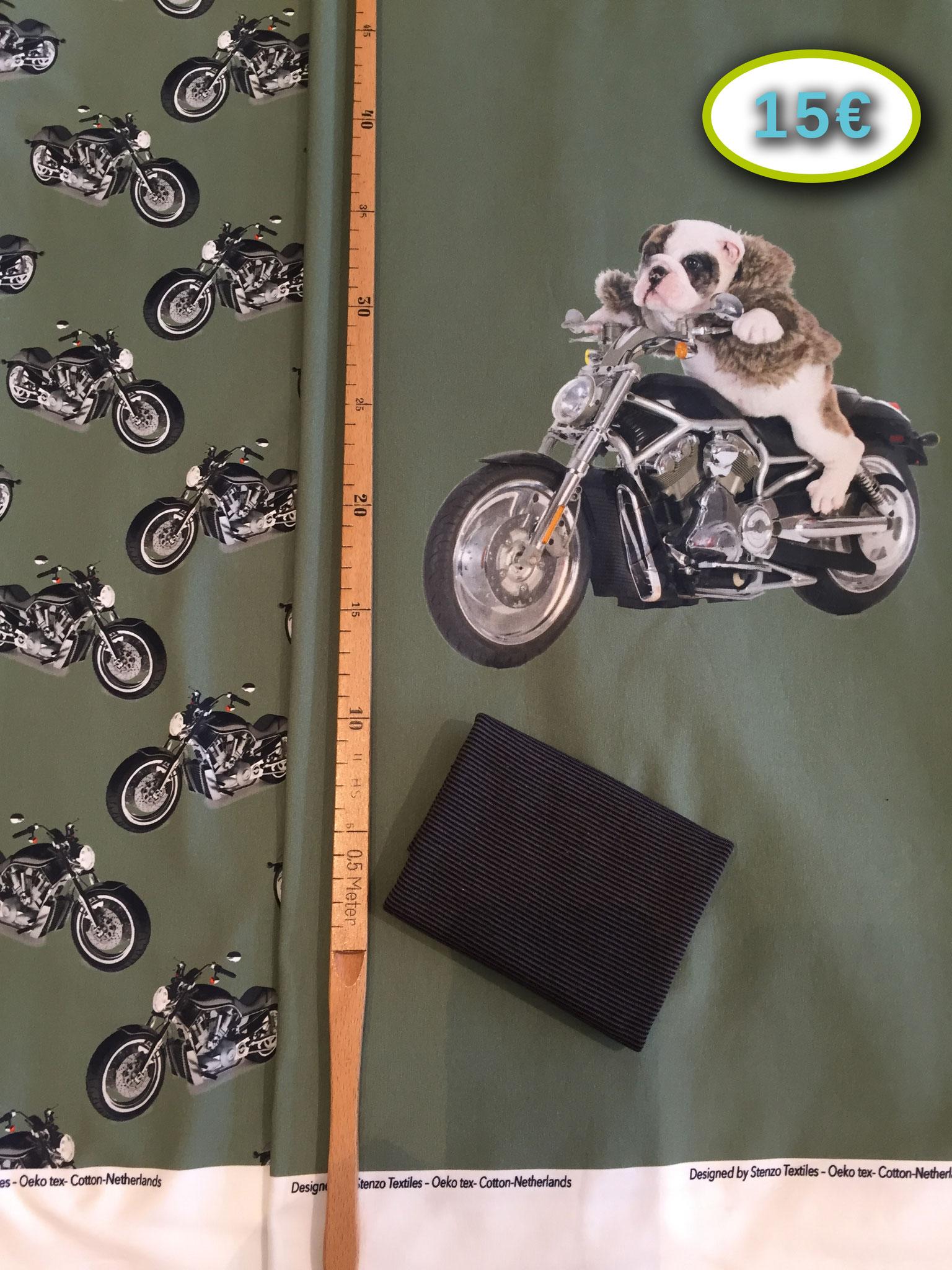 Stenzo Motorrad-Panel, ca. 65 cm x 145, 95% BW, 5% EL inkl. 20 x 35 cm Bündchenschlauch