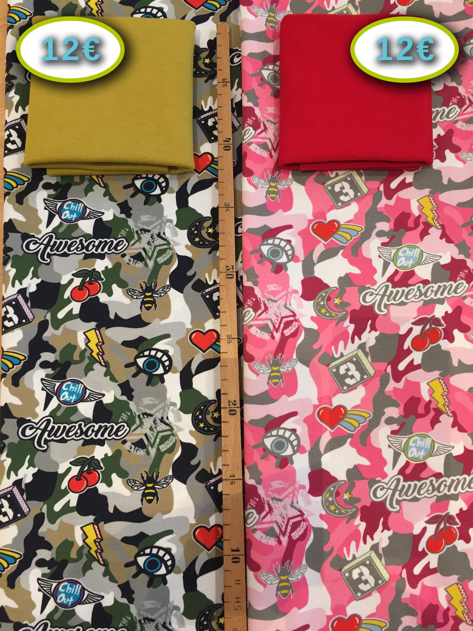 """1 Stück  60 x 150 cm Stenzo-Jersey """"Awesome"""" (grün oder pink!), 95% BW, 5% inkl. 25/30 cm Bündchen"""