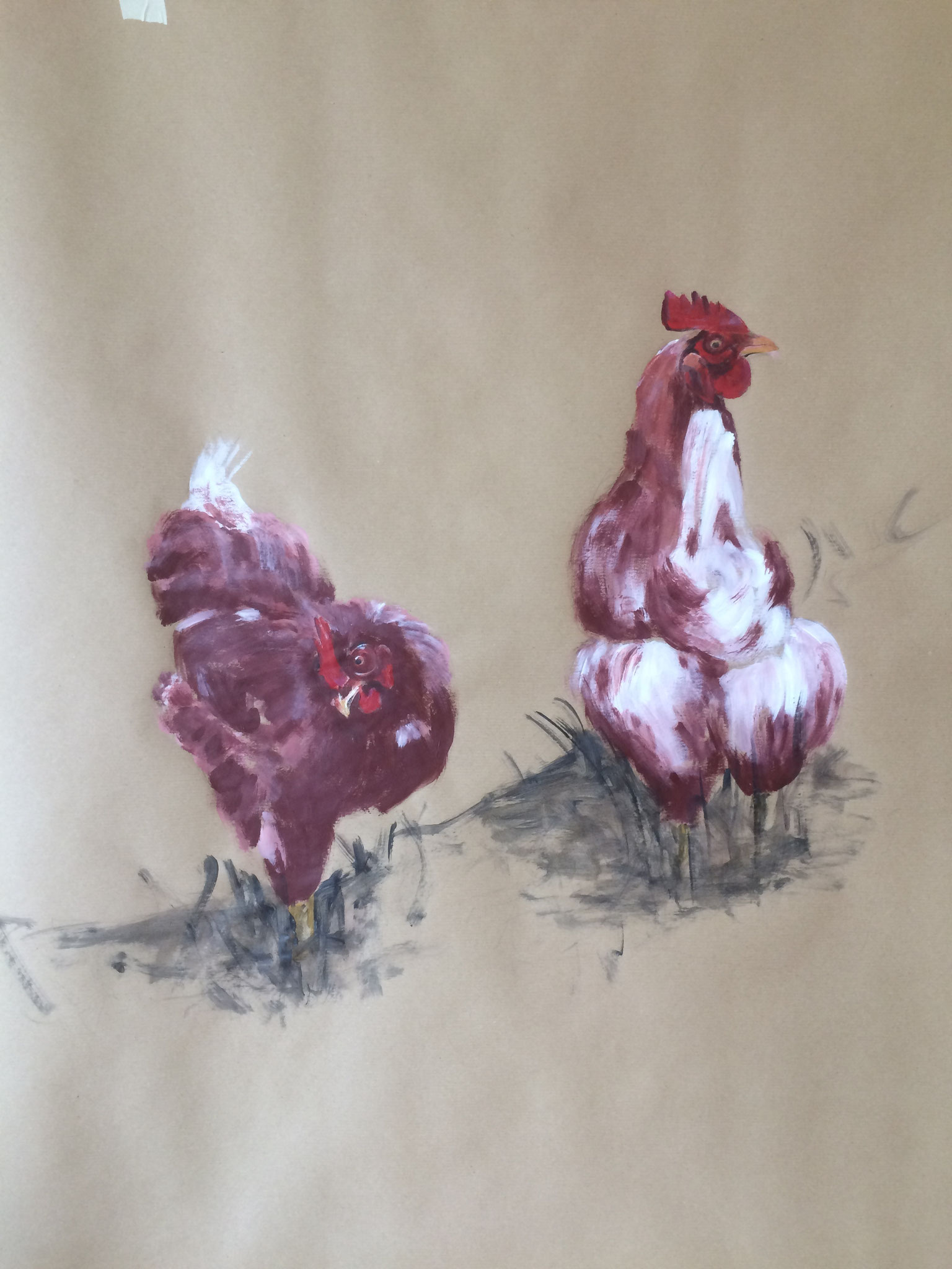 Alphühner,  100cm x 100cm,  Acryl auf Packpapier, 2016
