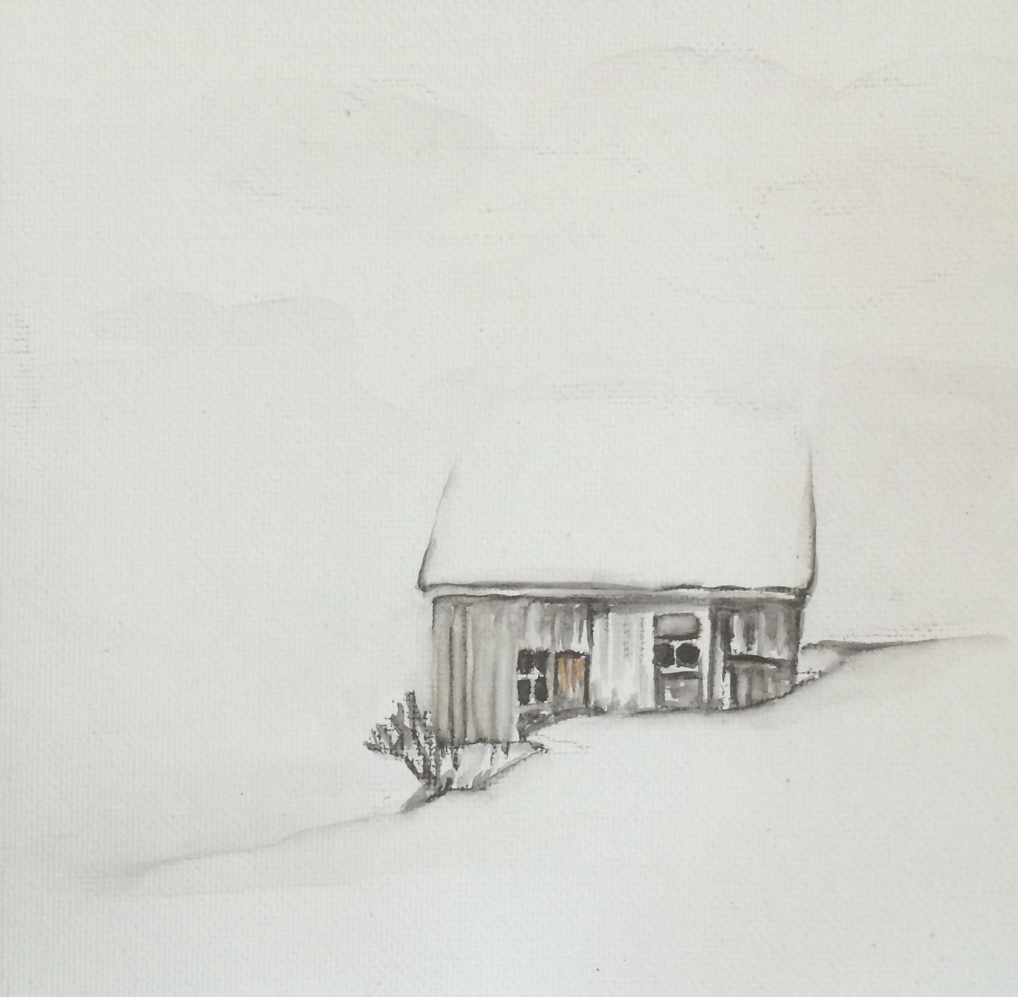 Alpakaheim, 15cm x 15cm, Aquarell, 2016, verkauft
