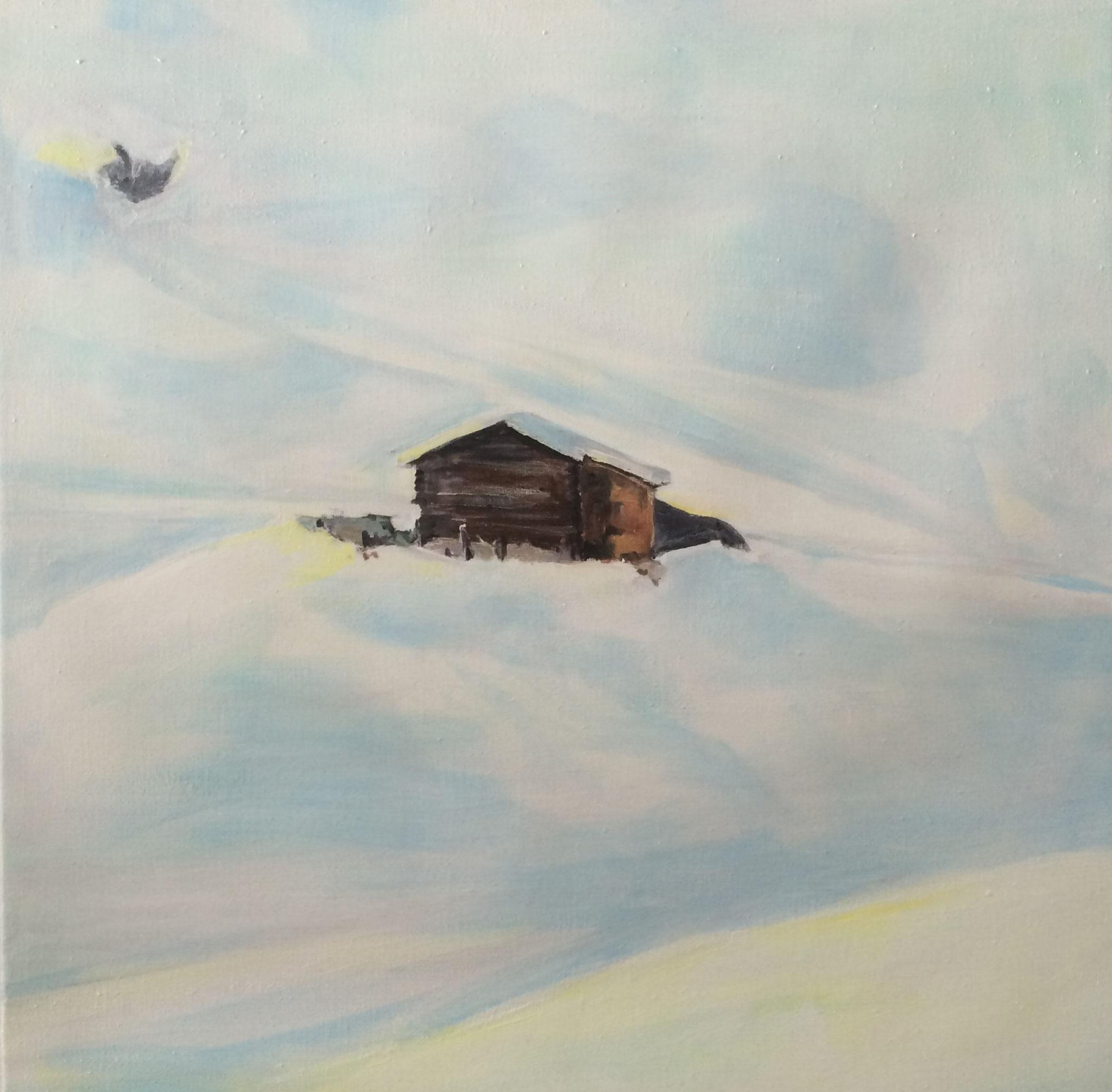 Hütte Partnun, 2017, Acryl auf Leinwand, 80x80
