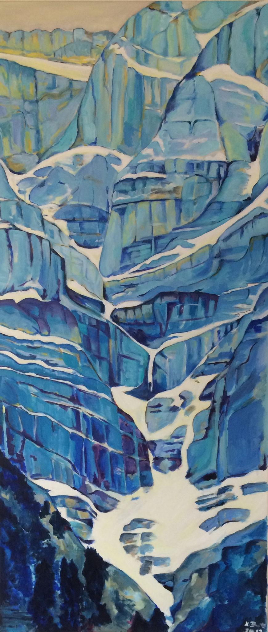 Richtung Glärnisch, 65cm x 146cm, Acryl auf Leinwand, 2012