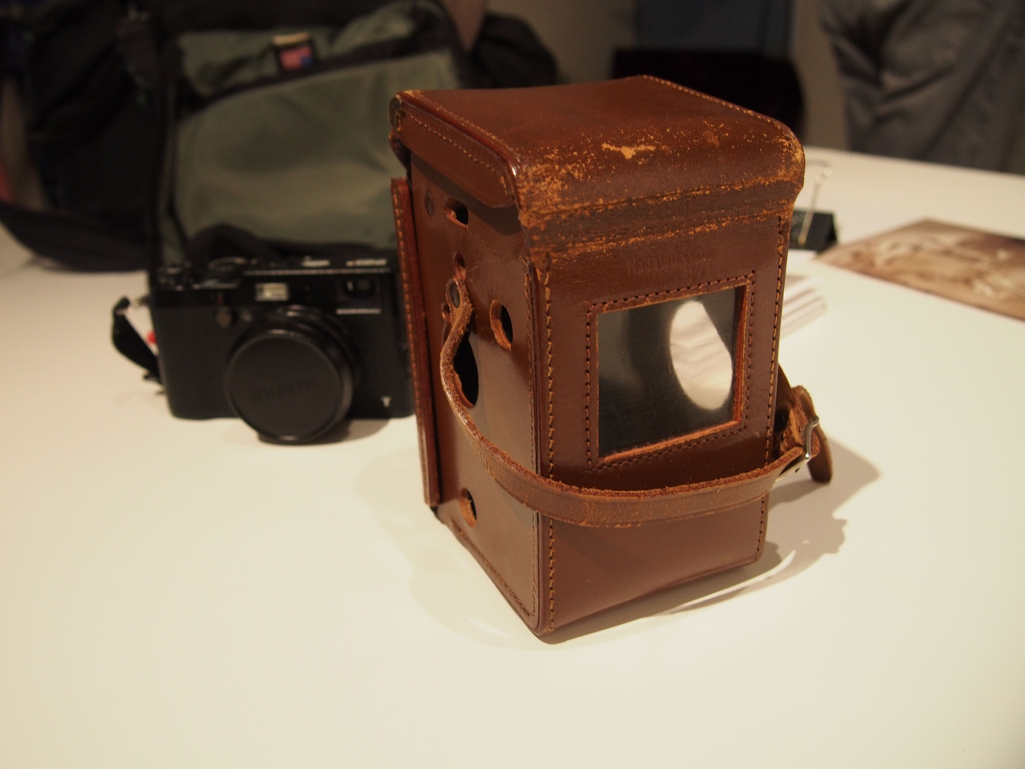 Camera and box belonging to Pete Corr photographed by Sae Kimura