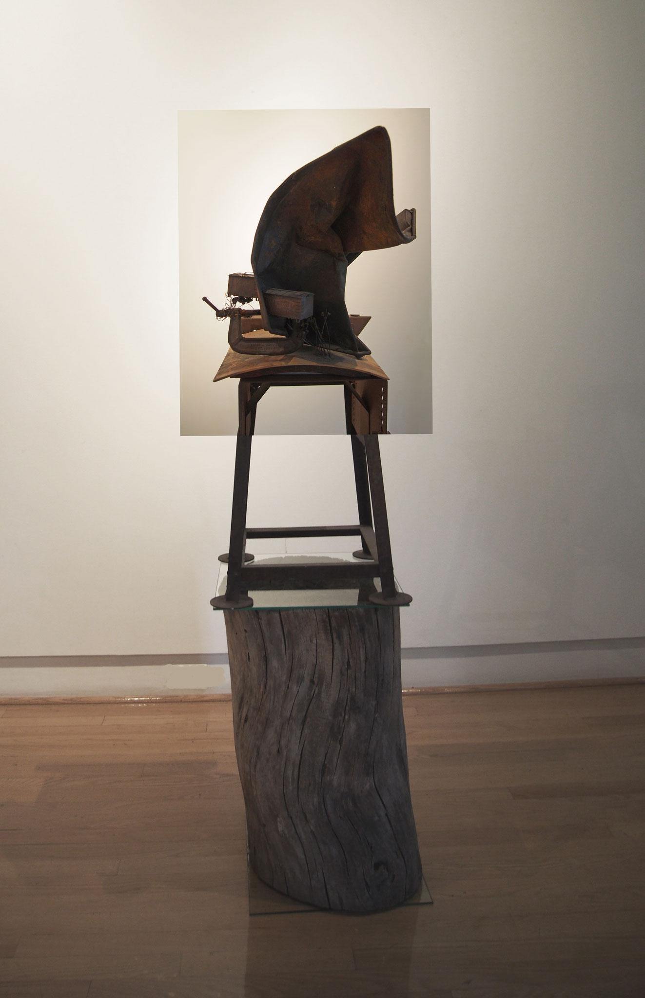 Sculpture by Jeremy Gordaneer upon found tree stump