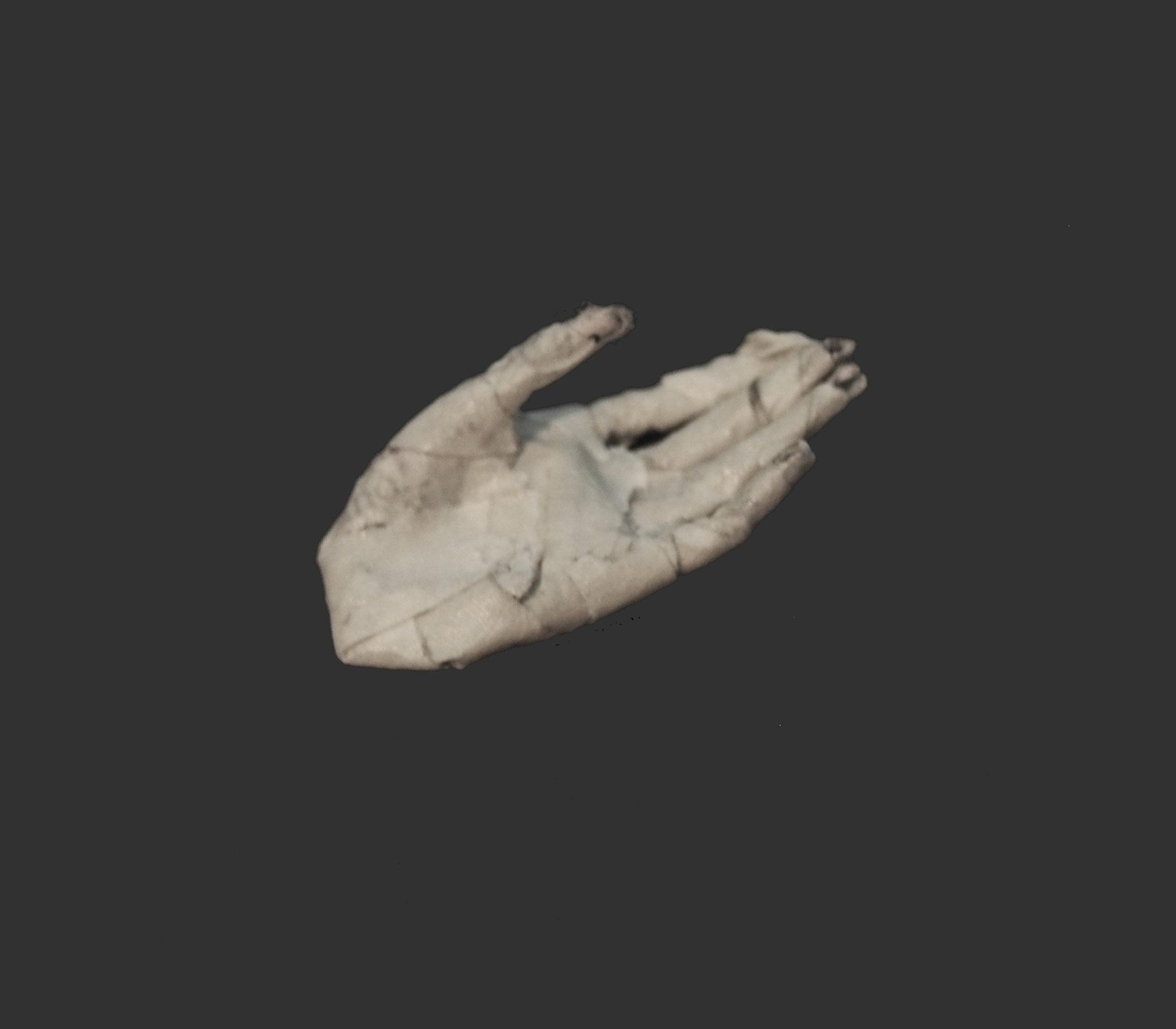 Tiny paper mache hand by Sae Kimura