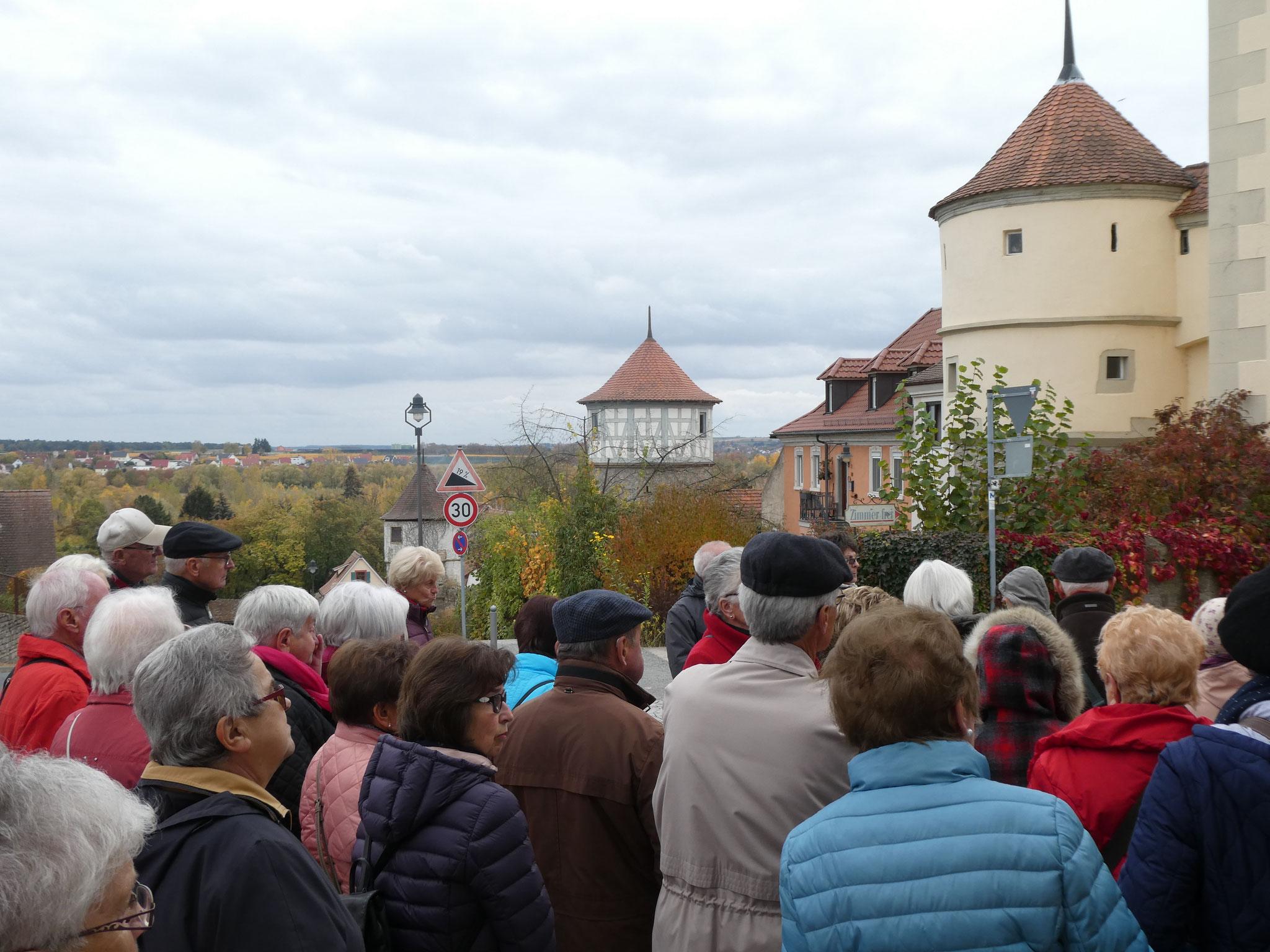 Interessierte Mitglieder vor der Dettelbacher Stadtmauer