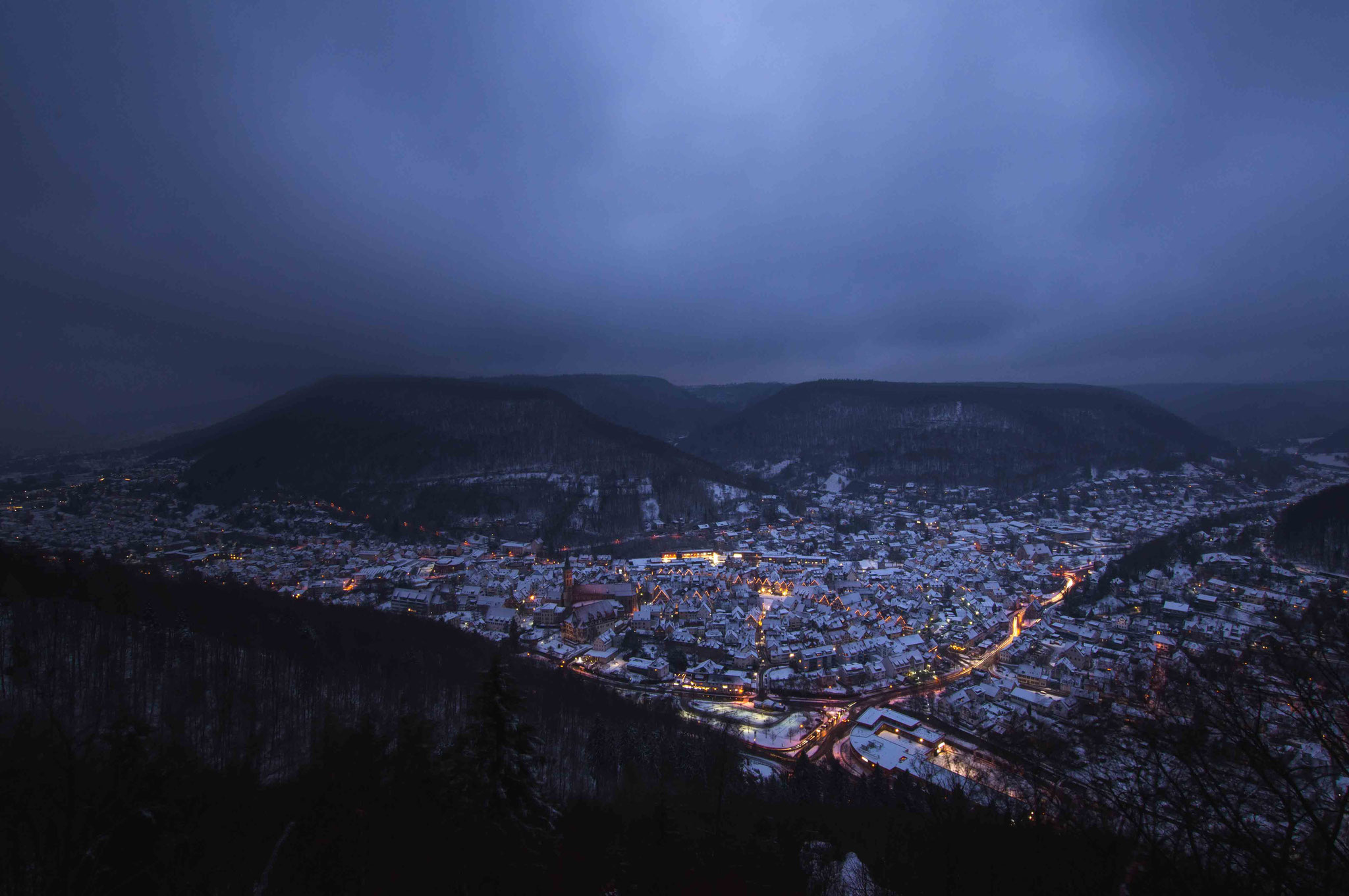 Winterliches Abendlicht; Bad Urach