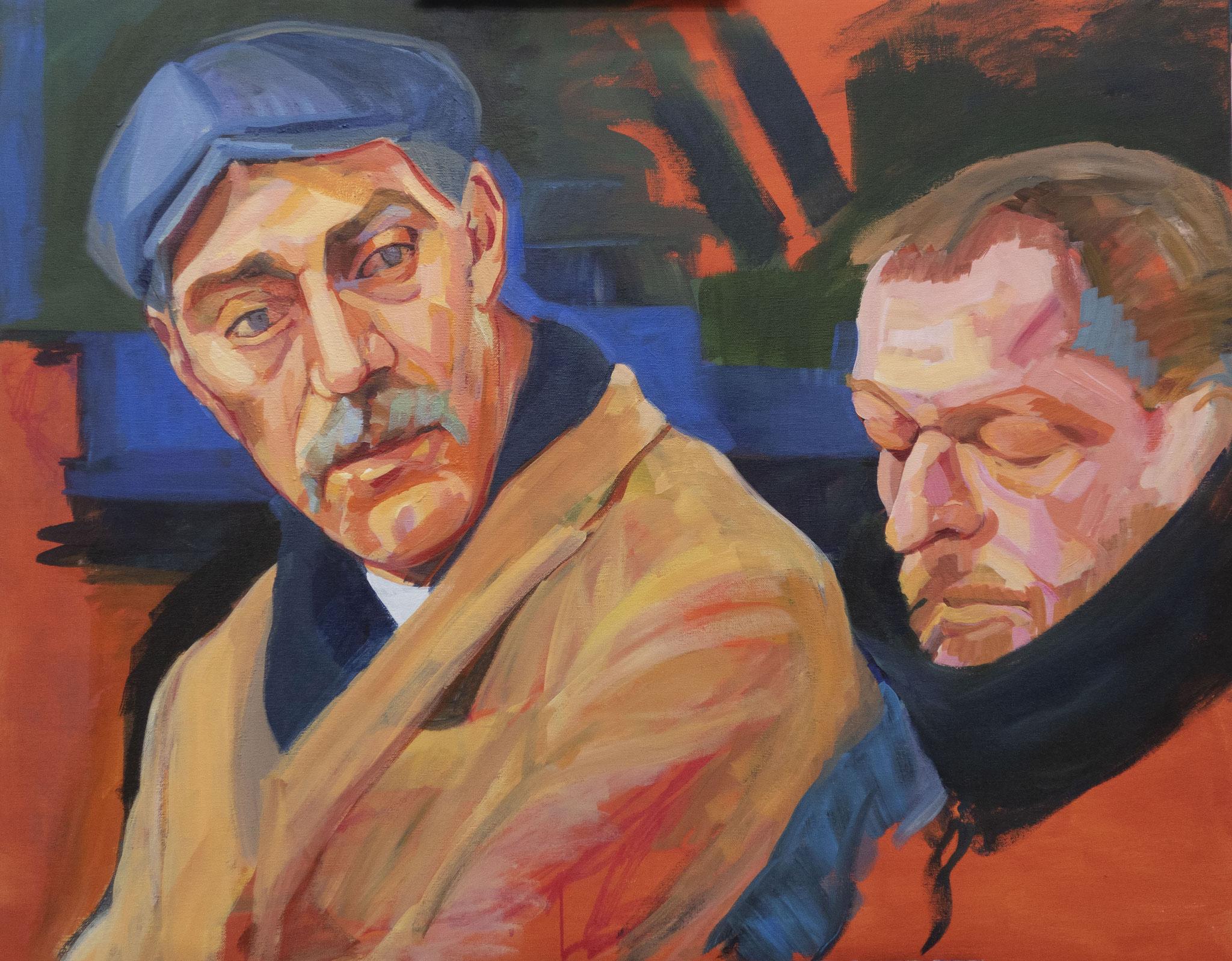 Dos hombres en el metro.