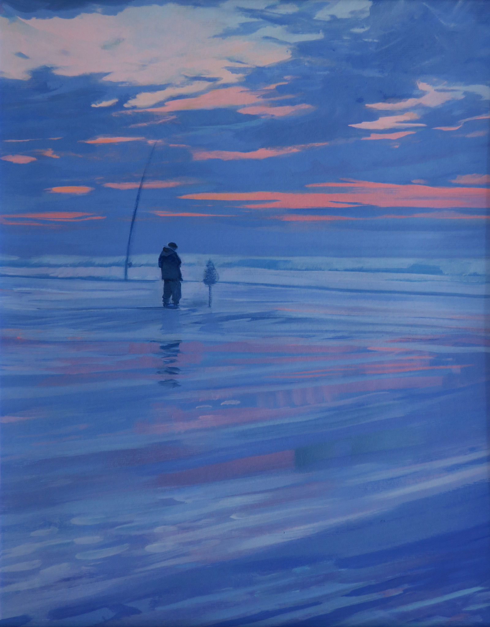 Fishing at dusk. Santander.39x49cm. Acrylic on paper.