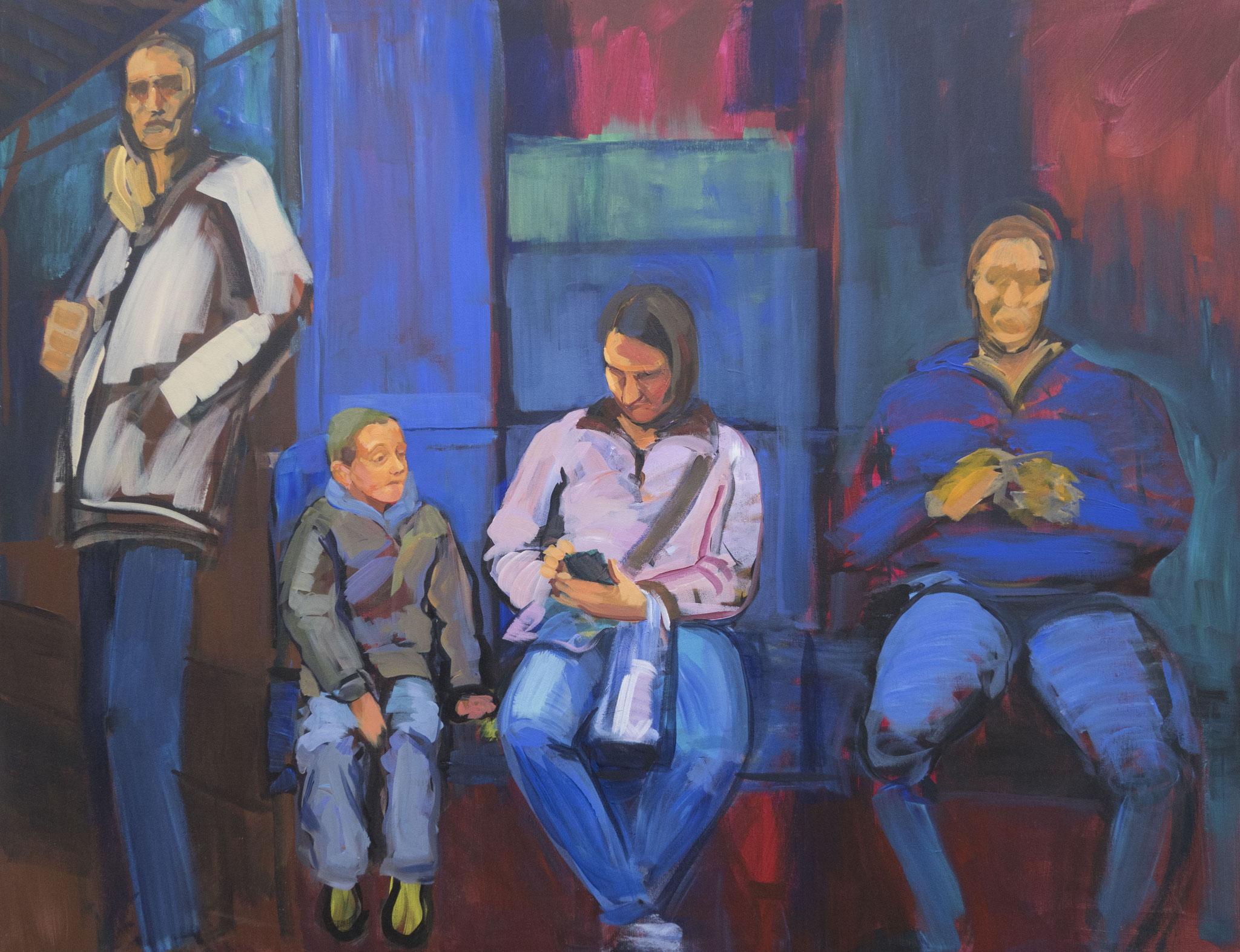 Madre con hijo en el metro.