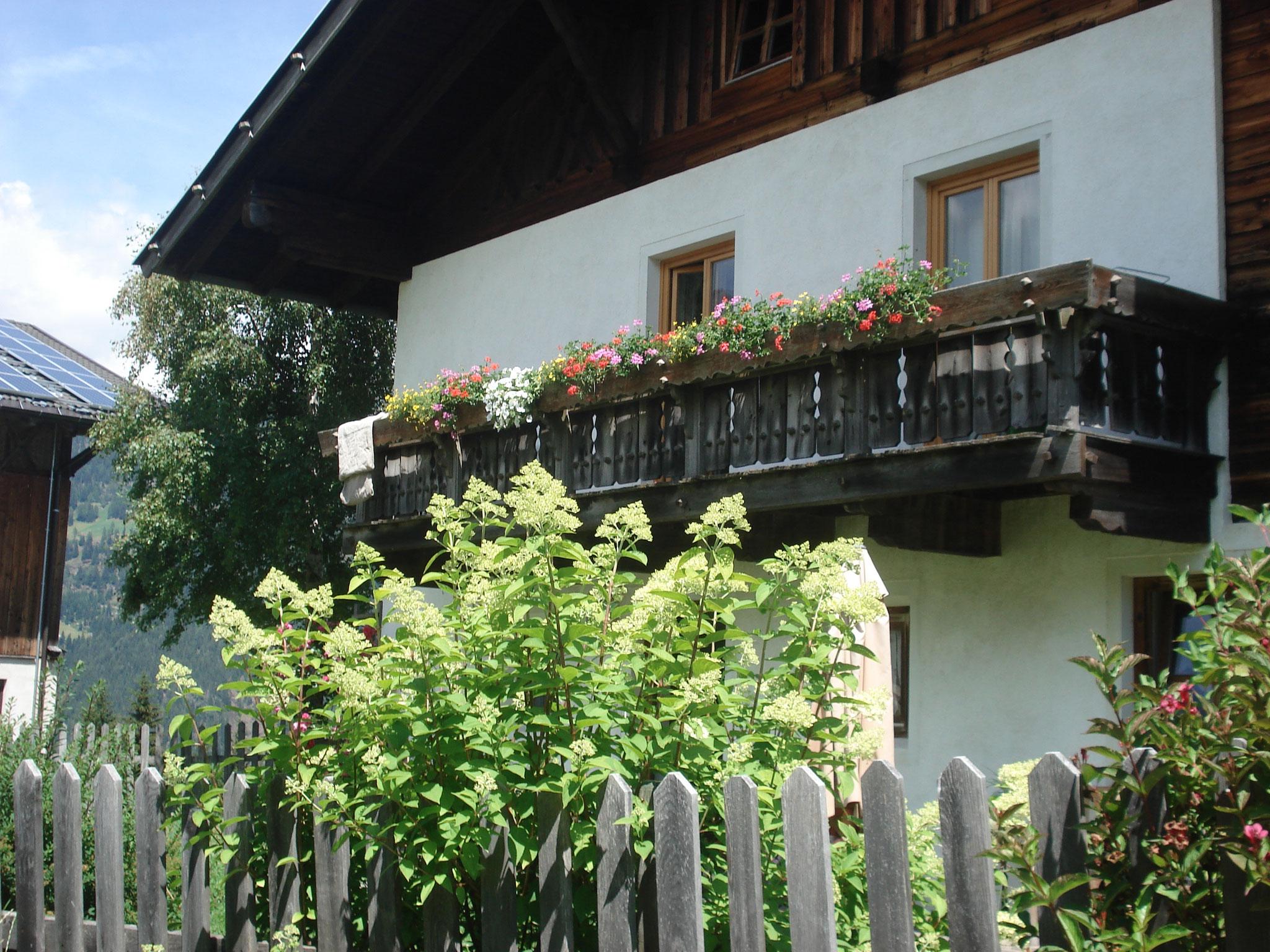 Unser Wohnhaus umrahmt von Büschen und Hecken
