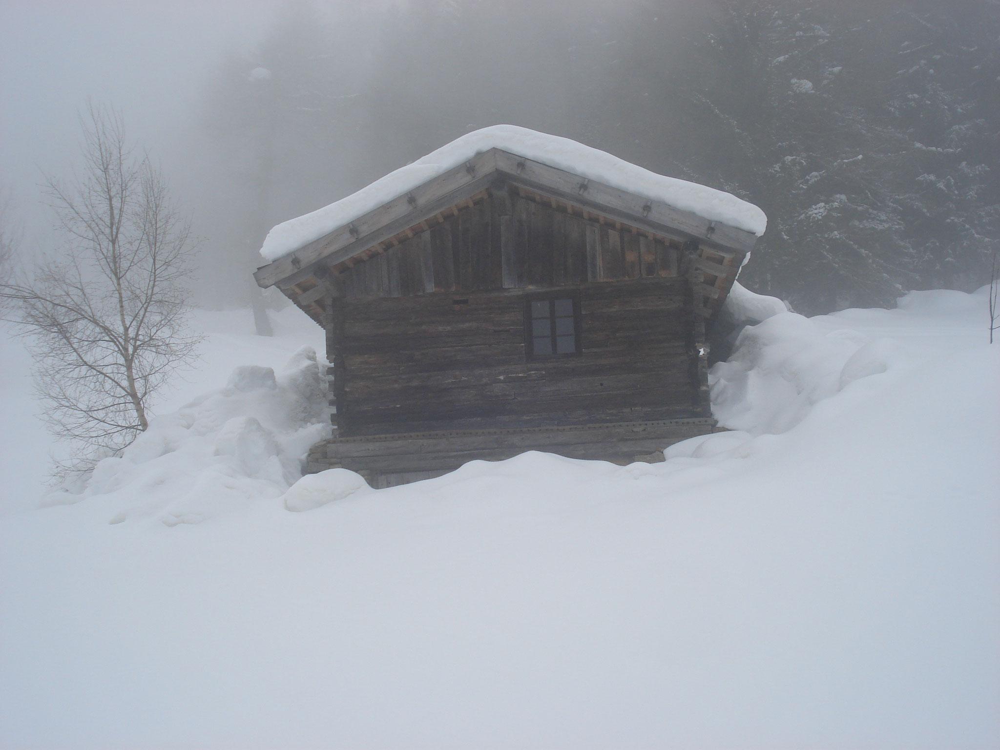 Ein nebliger Wintertag bei einem unserer Heugaden