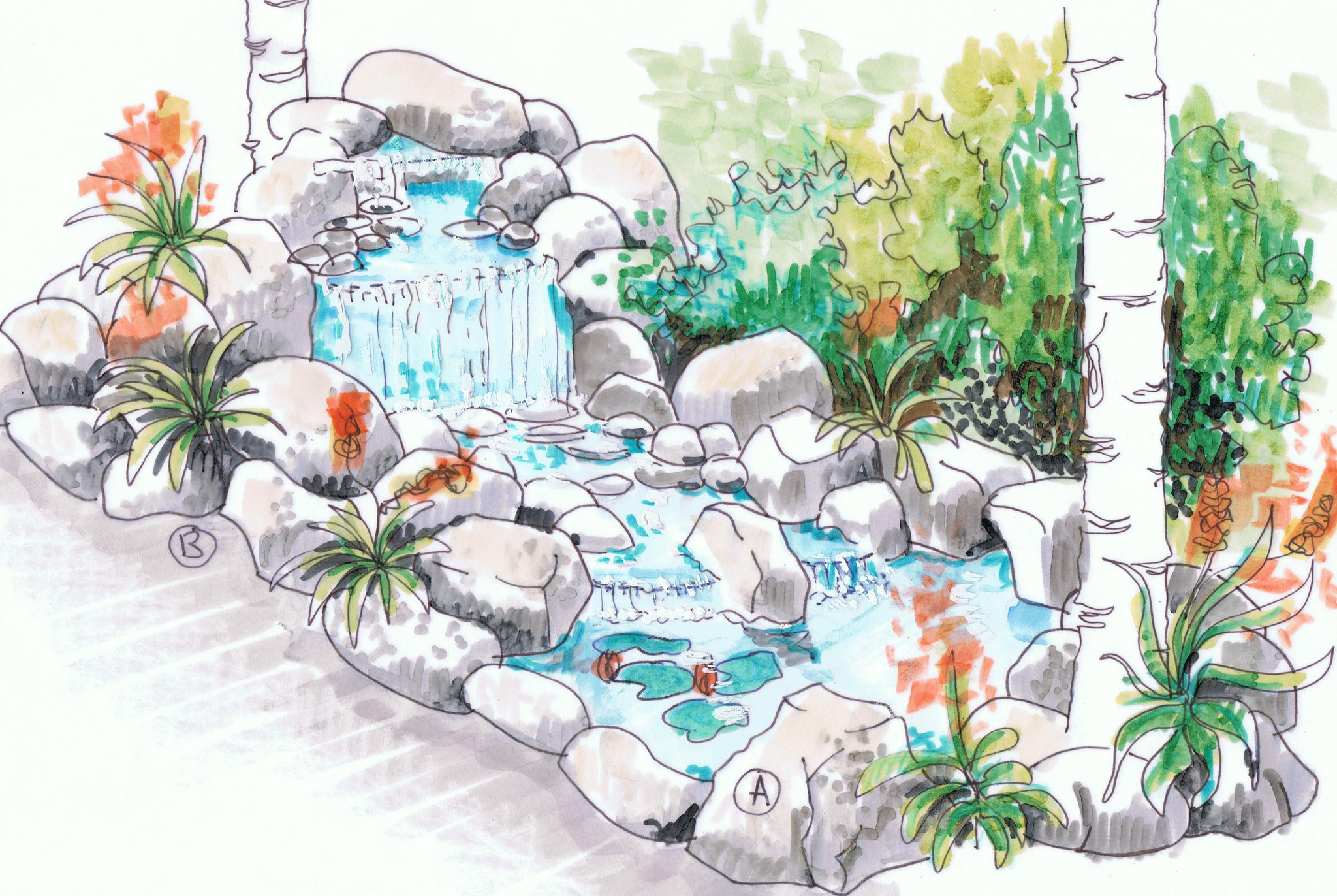 Création d'une rivière artificielle qui recrée l'ambiance dans laquelle vivaient les clients dans leur enfance.