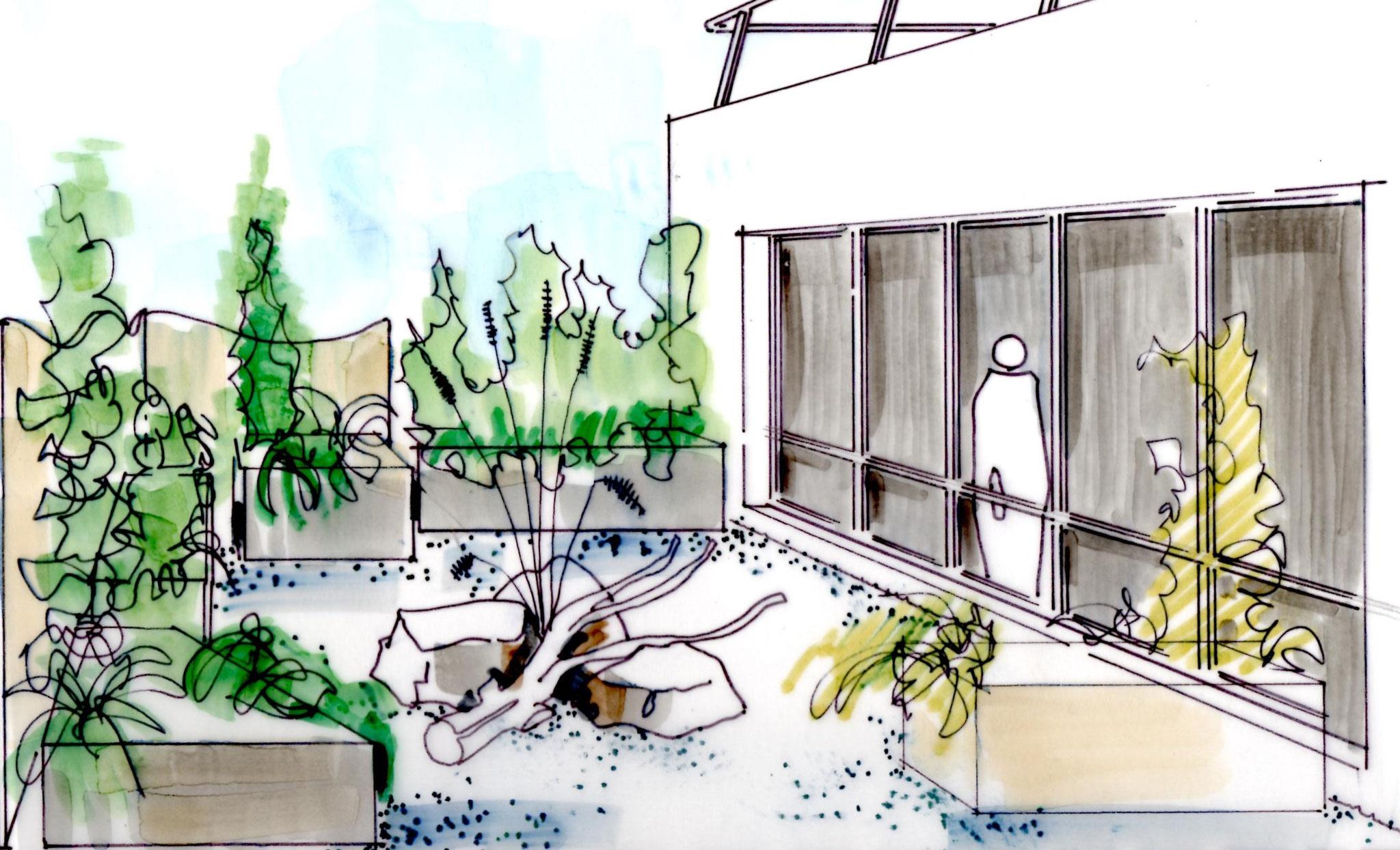 Les éléments techniques présents sur ce toit disparaissent derrière le décors paysager.