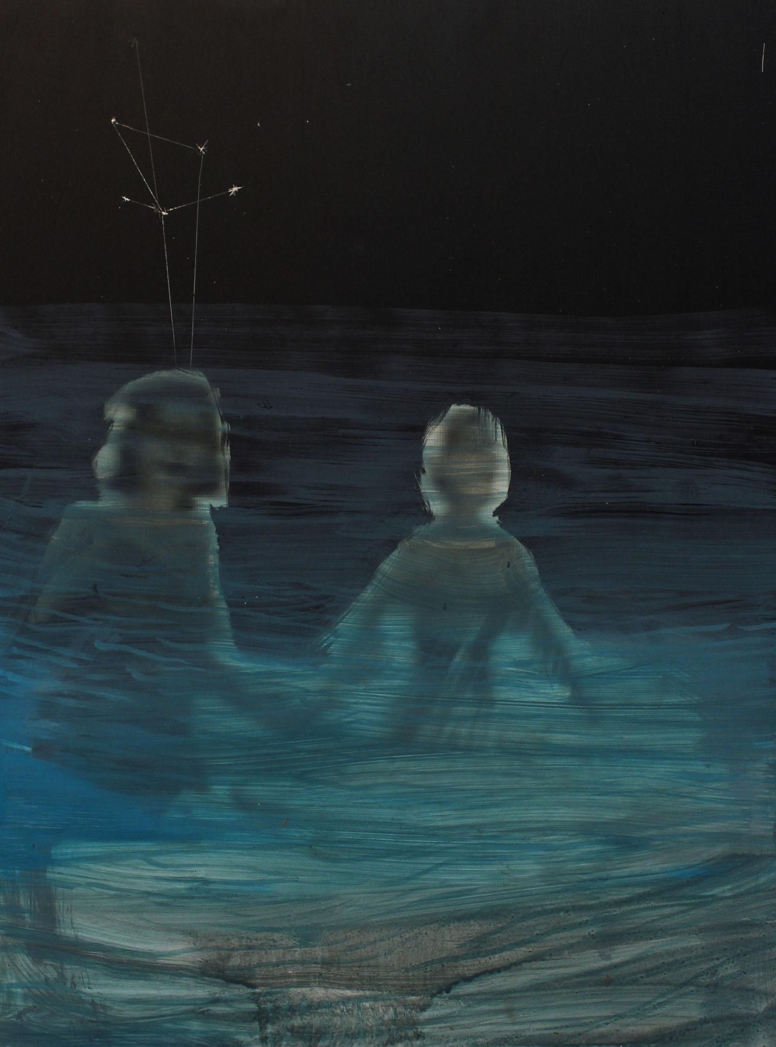 """nightswimming 04"", acryl und öl auf bedrucktem alu-dibond, 2016"