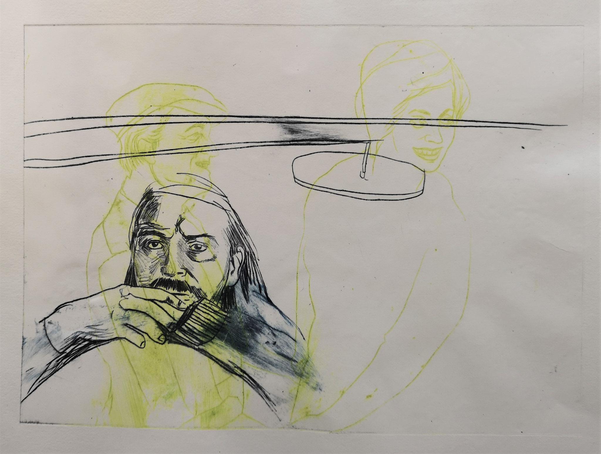 conversation, radierung, mehrplattendruck, ca. 20x12 cm