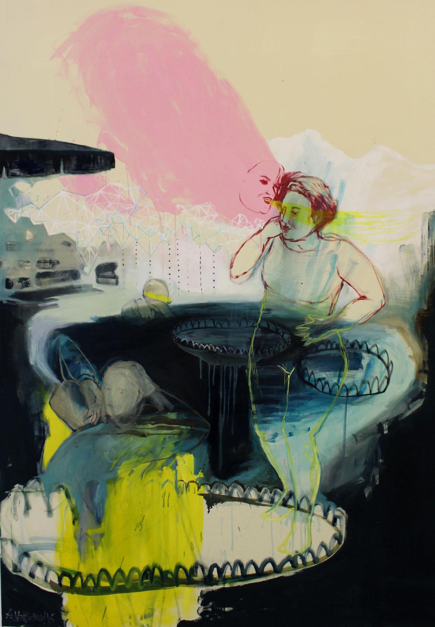 """nymphaea"", acryl und öl auf leinwand, 200x140 cm, 2016"