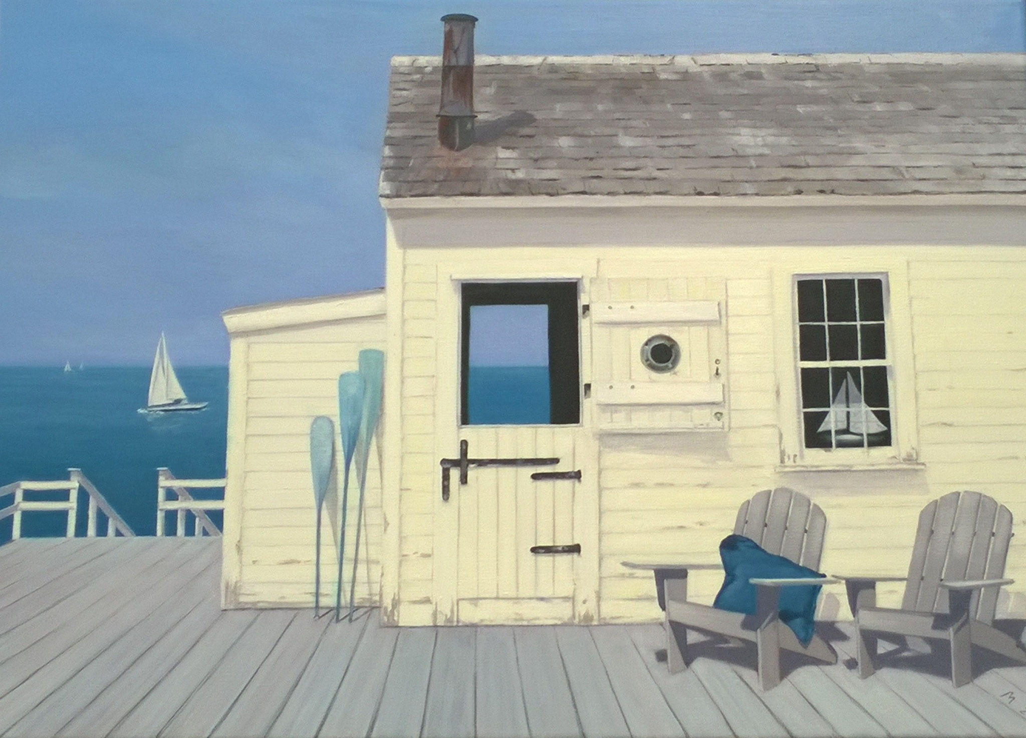 """Dock House"" 2017 nach dem Original von Zhen-Huan Lu, Öl 50x70"