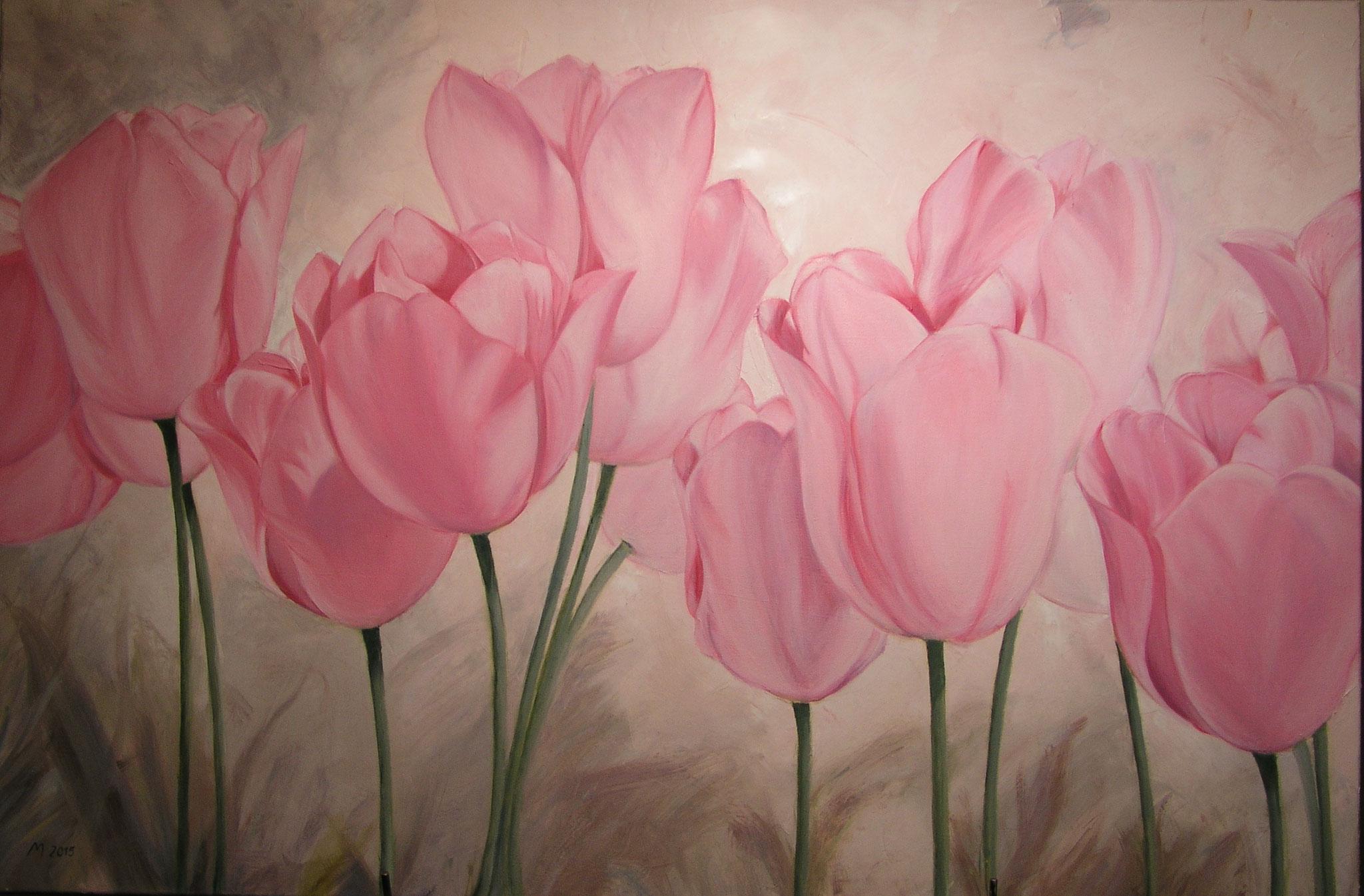 """""""Tulpen"""" 2015, Öl 60x90 (verkauft)"""