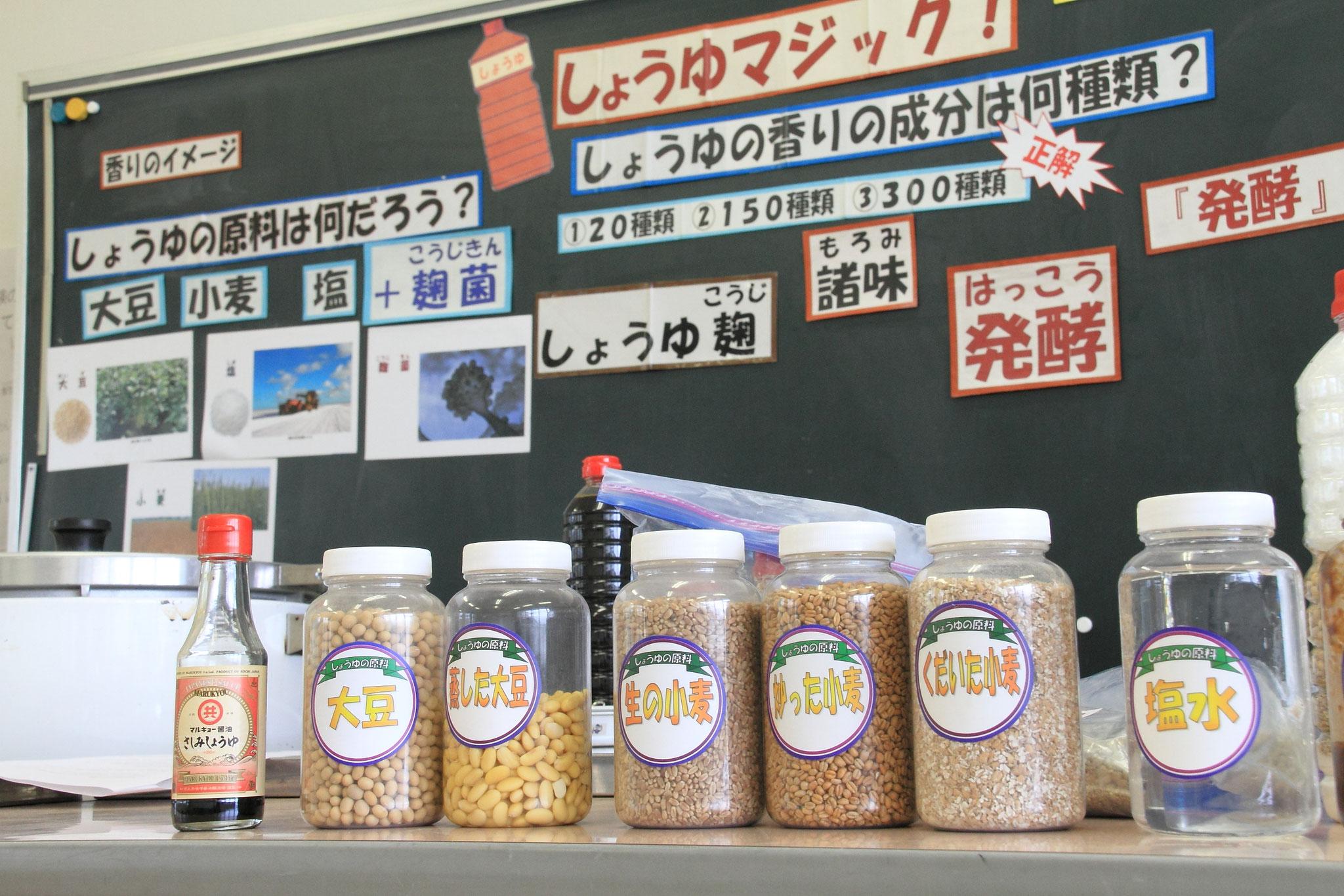 生の大豆・蒸した大豆や生の小麦・炒った小麦など様々な教材