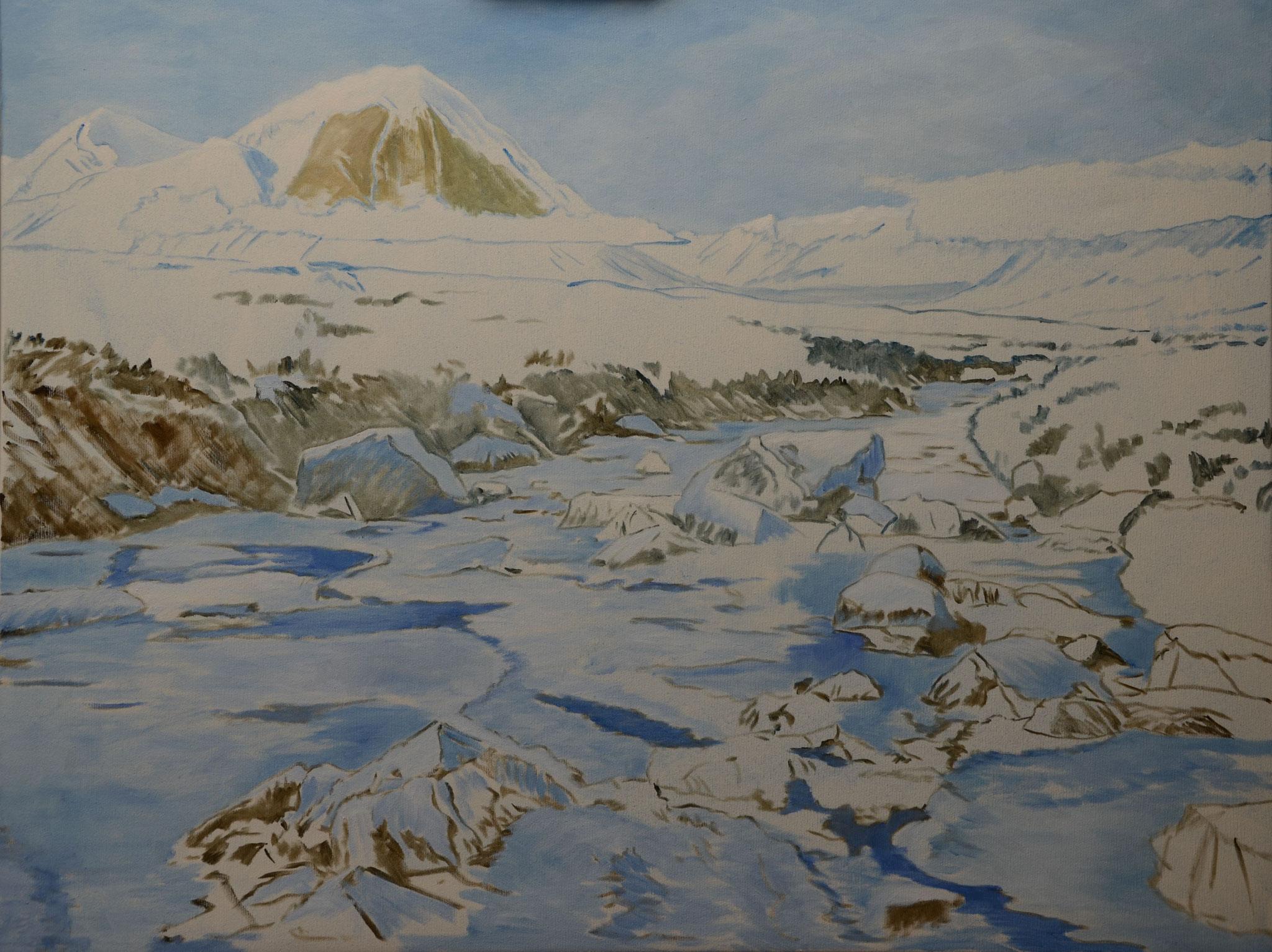 Frontanteil des Berges im Hintergrund