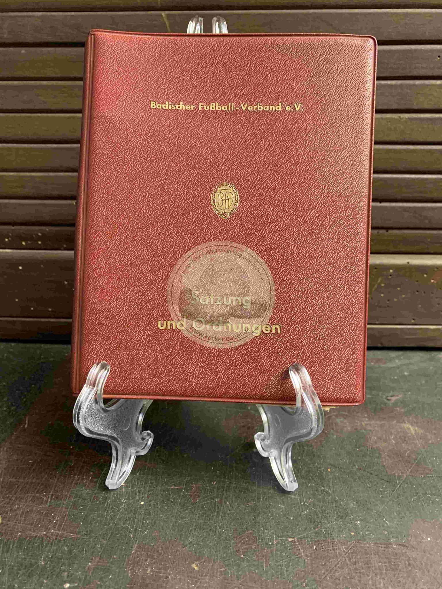 Satzung und Ordnungen des Badischen Fußball-Verbandes e.V. aus dem Jahr 1959