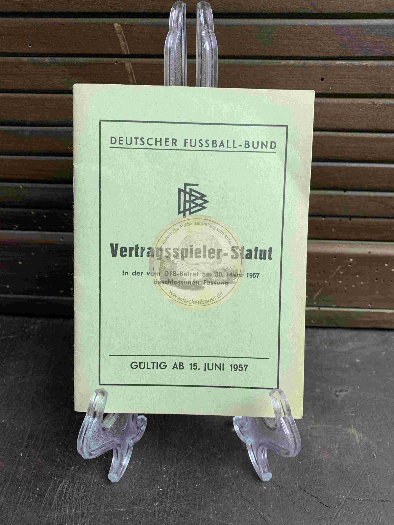 Vertragsspieler-Statut des DFB aus dem Jahr 1957