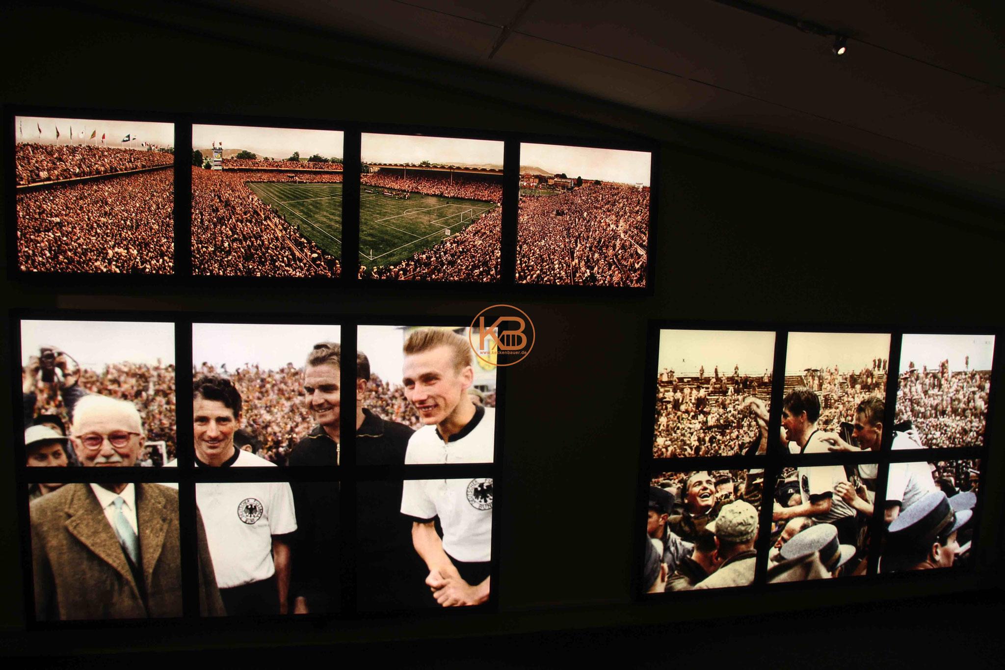 Extra für die Ausstellung nachkolorierte Bilder von der WM 1954