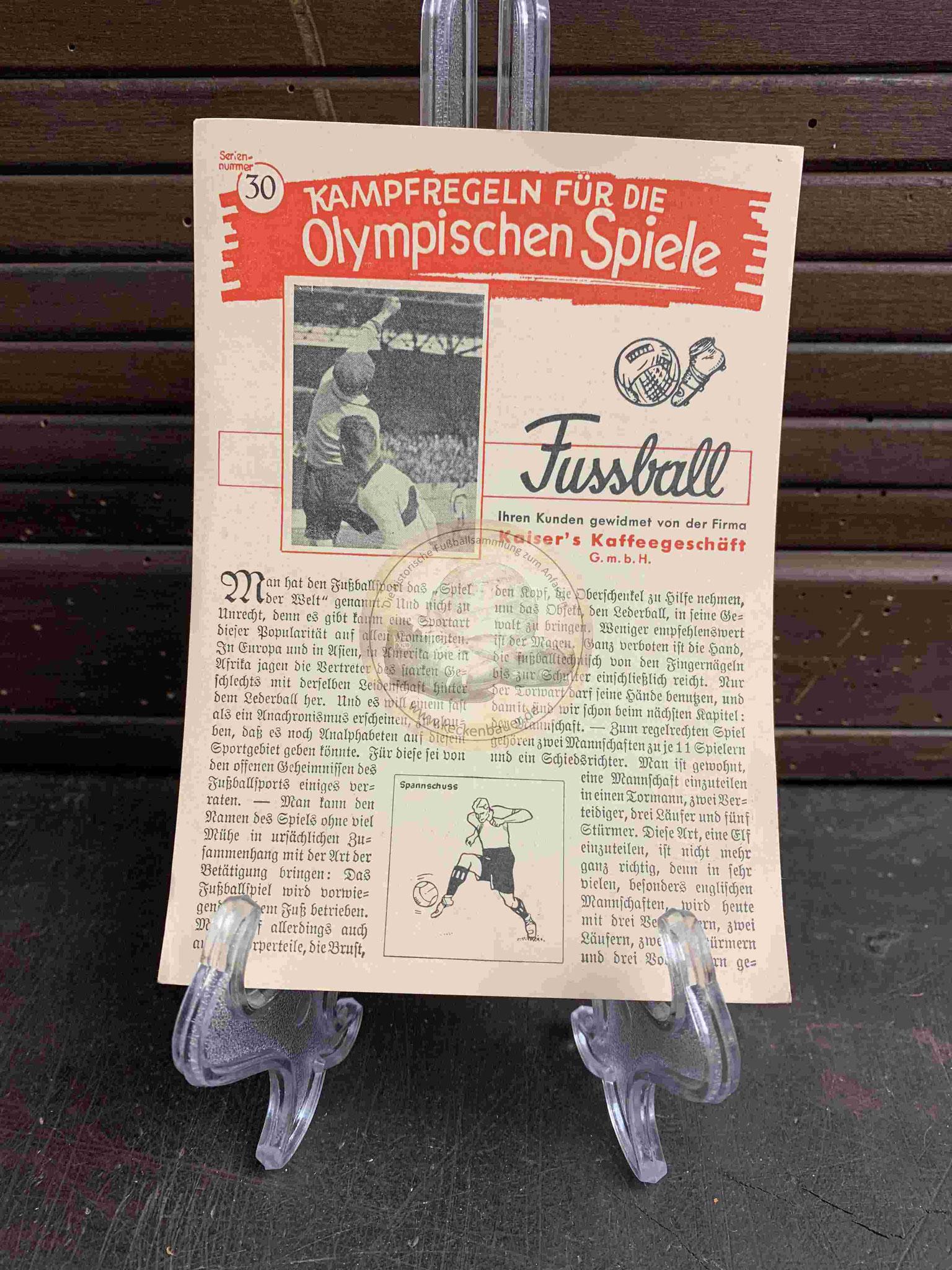 Kampfregeln für die Olympischen Spiele aus dem Jahr 1936