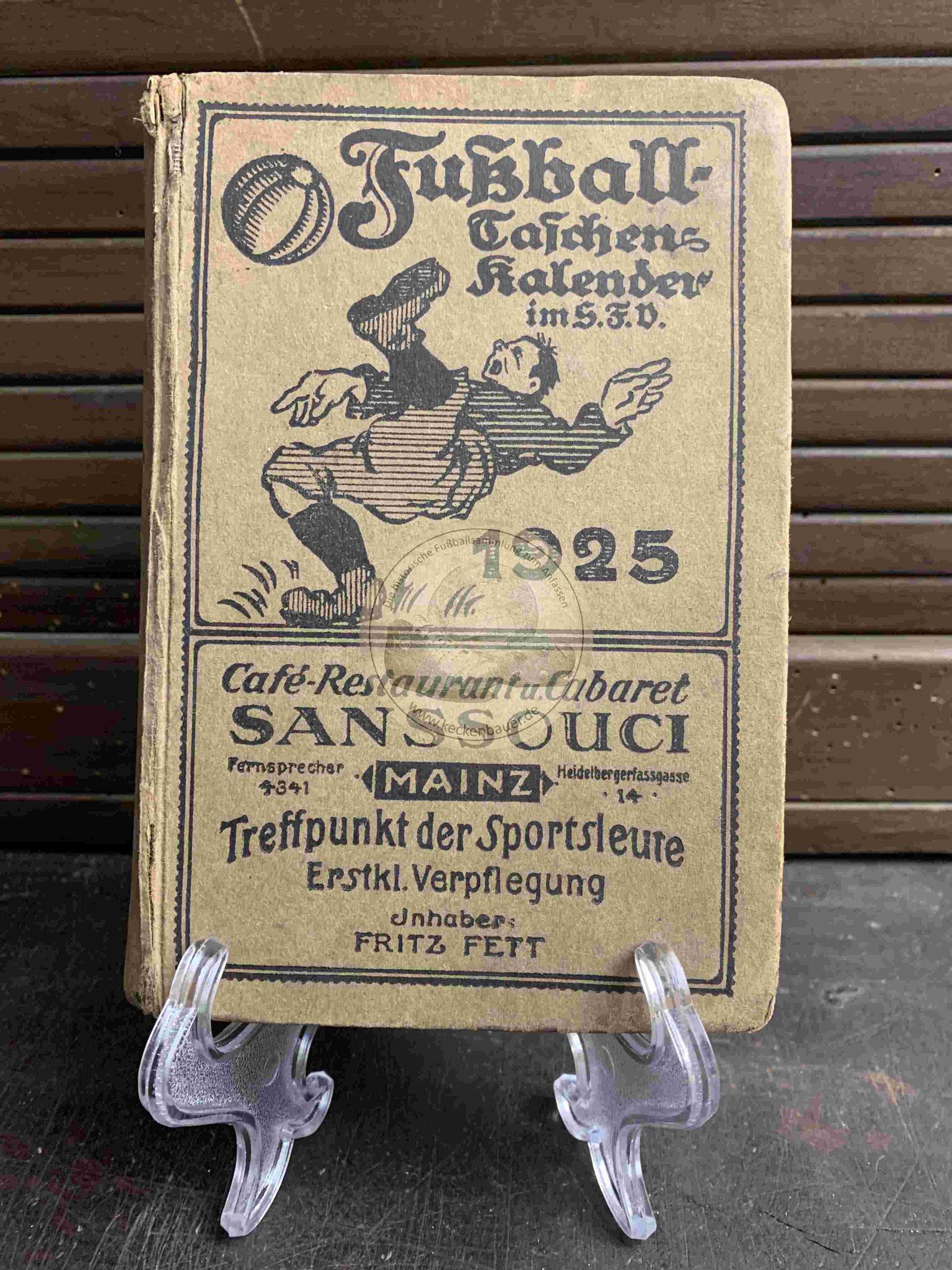 Fußball Taschenkalender im S.F.V. (Süddeutscher Fußball Verband) aus dem Jahr 1925