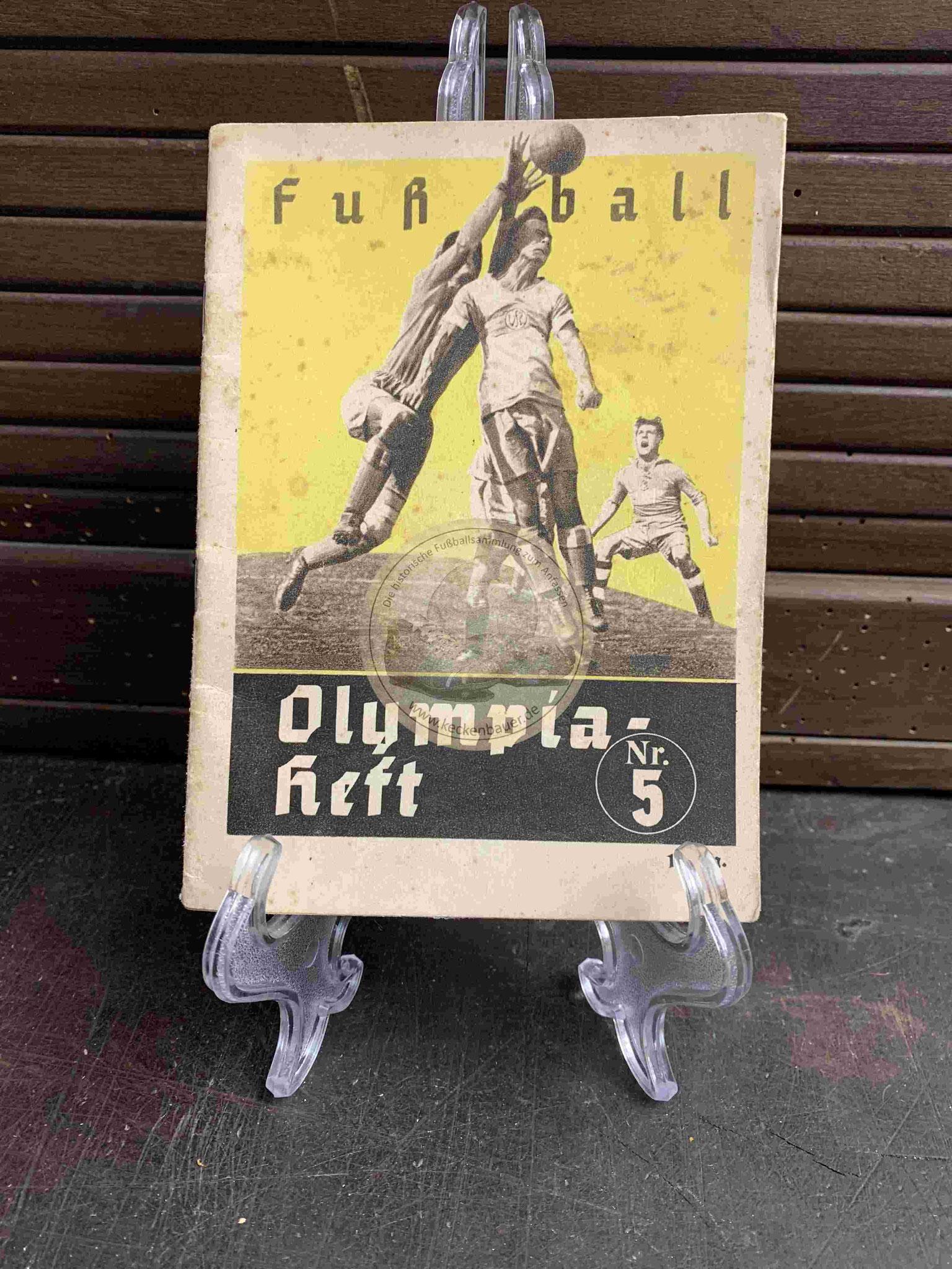 Fußball Olympia Heft Nr. 5 aus dem Jahr 1936