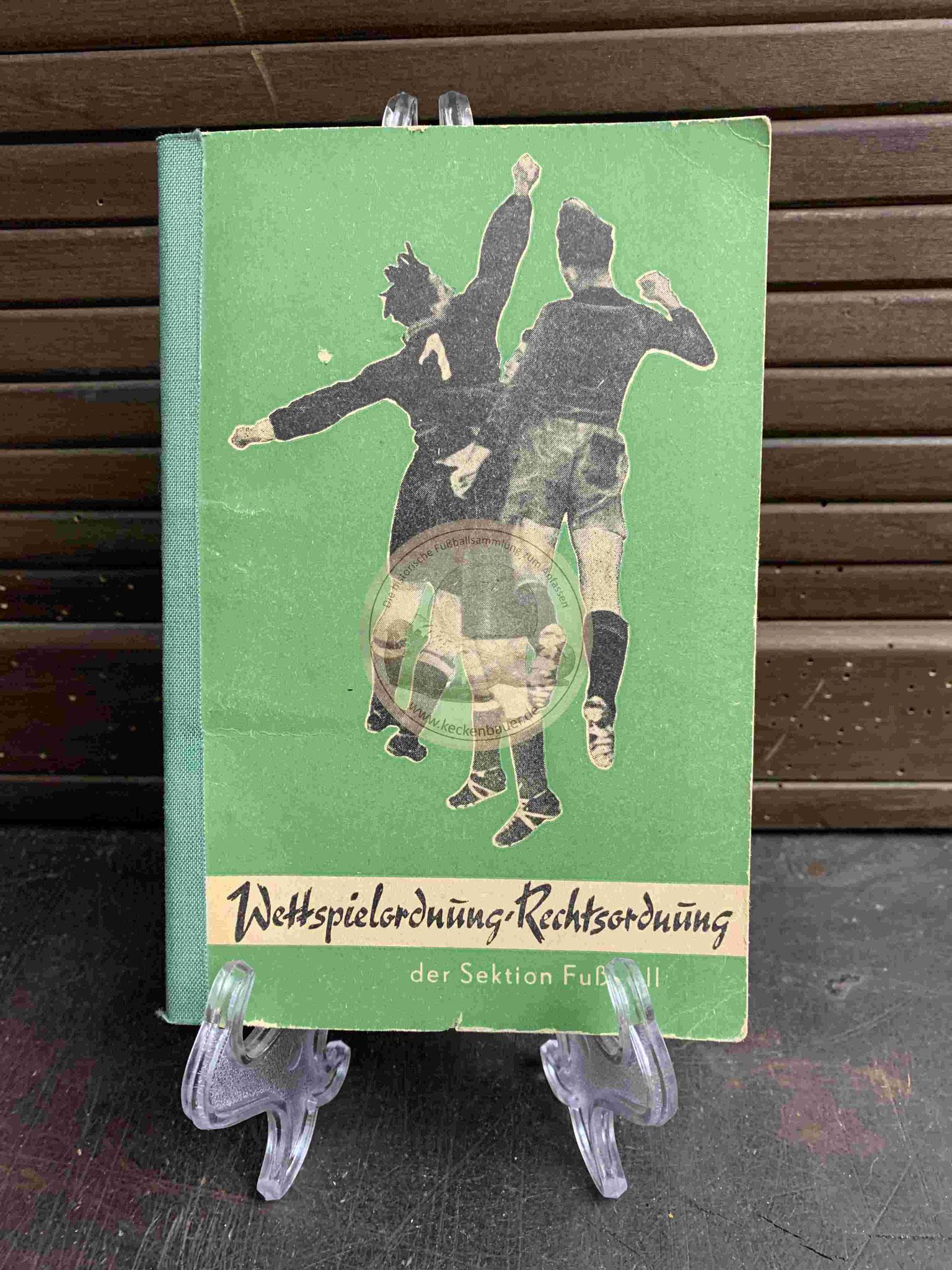 Wettspielordnung Rechtsordnung der Sektion Fußball aus dem Jahr 1954