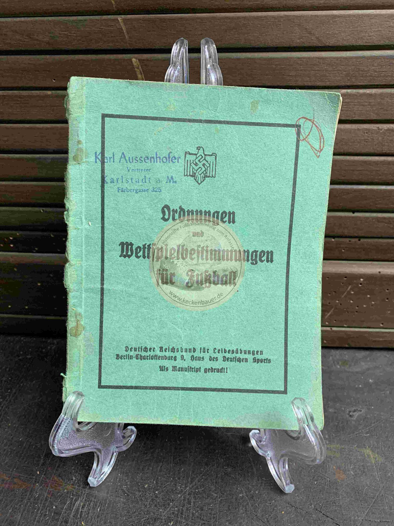 Ordnungen und Wettspielbestimmungen für Fußball aus dem Jahr 1936