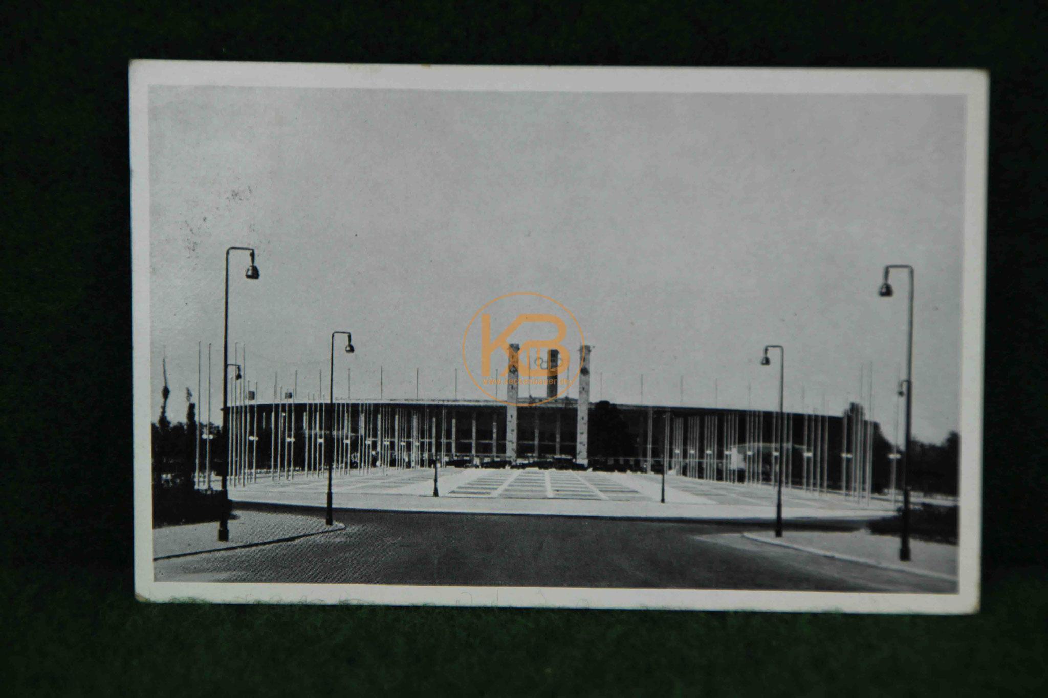Postkarte vom Berliner Olympiastadion aus dem Jahr 1938 anläßlich der des Finals der deutschen Meisterschaft zwischen Hannover96 und Schalke04 sowie  dem Spiel einer deutschen Auswahlmannschaft gegen  Aston Villa 1/2