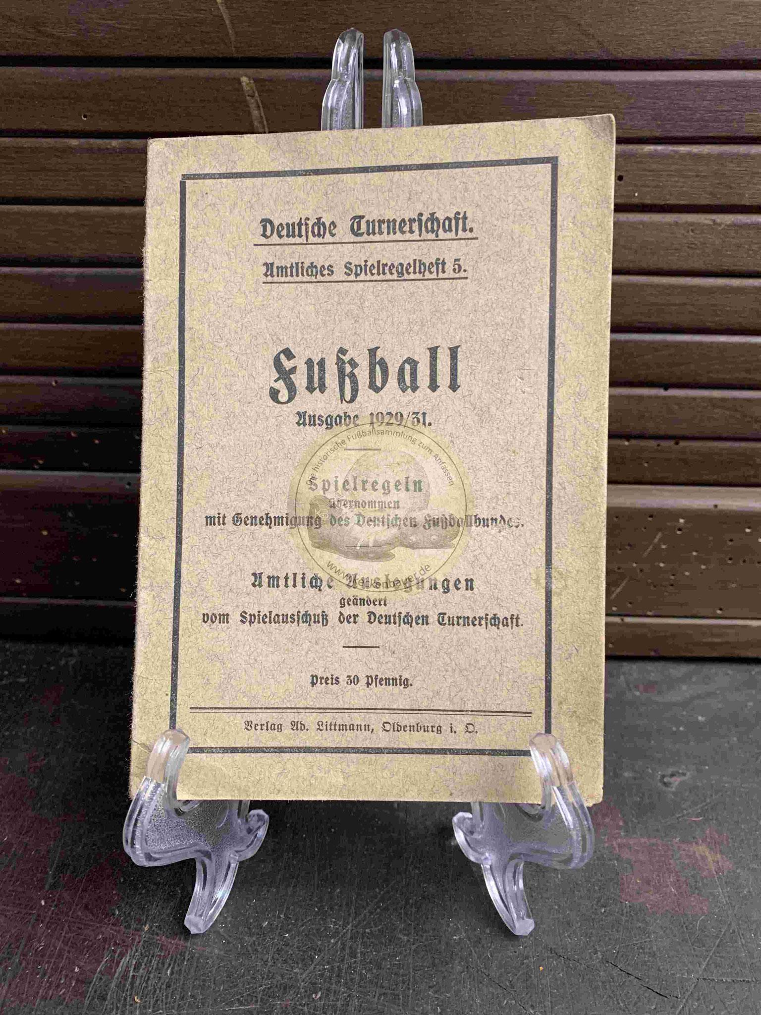 Deutsche Turnerschaft Amtliches Spielregelheft Fußball Ausgabe 1929/31