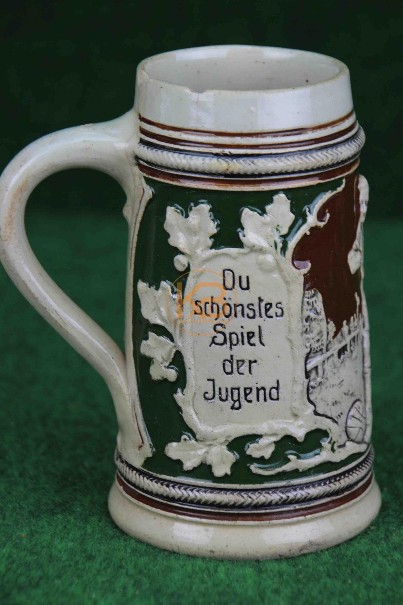 Sehr schöner und seltener historischer Fussball – Bierkrug – Humpen – Gut Tritt aus den 1920er Jahren 3/3