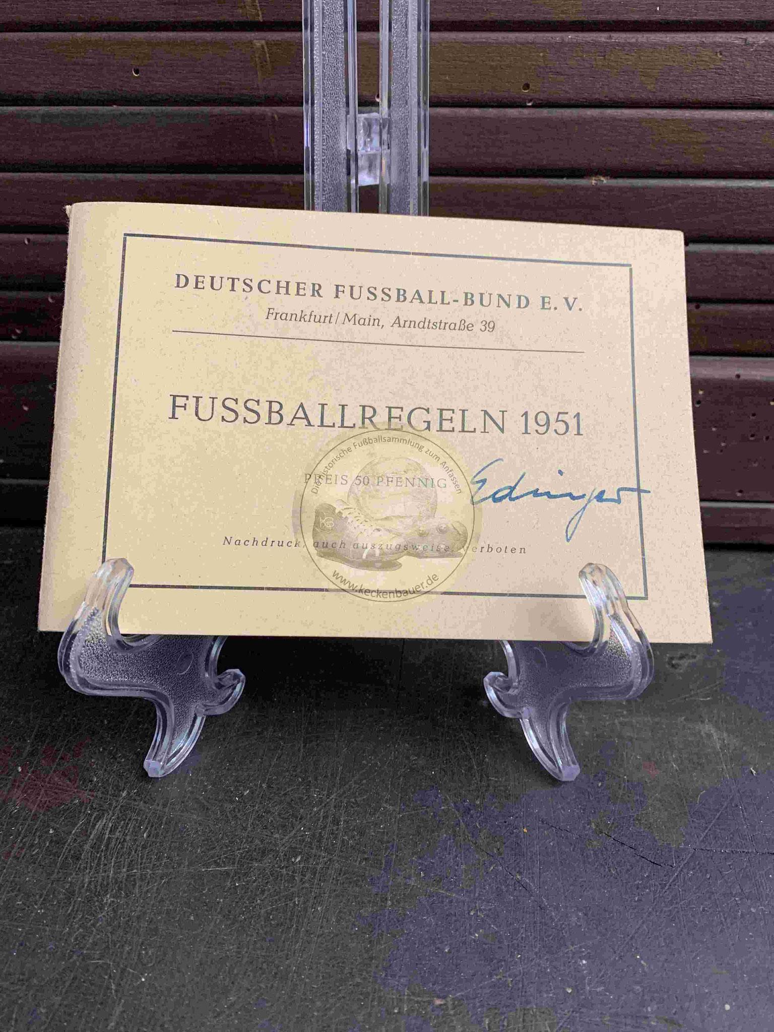 Fussballregeln des DFB aus dem Jahr 1951