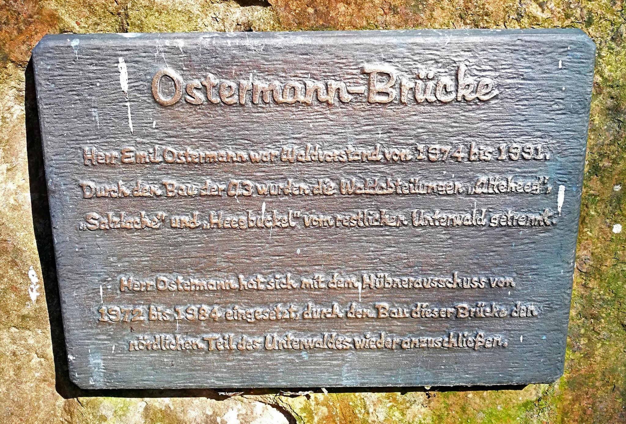 Bild 5 Gedenkstein an der Ostermann Brücke über die A3