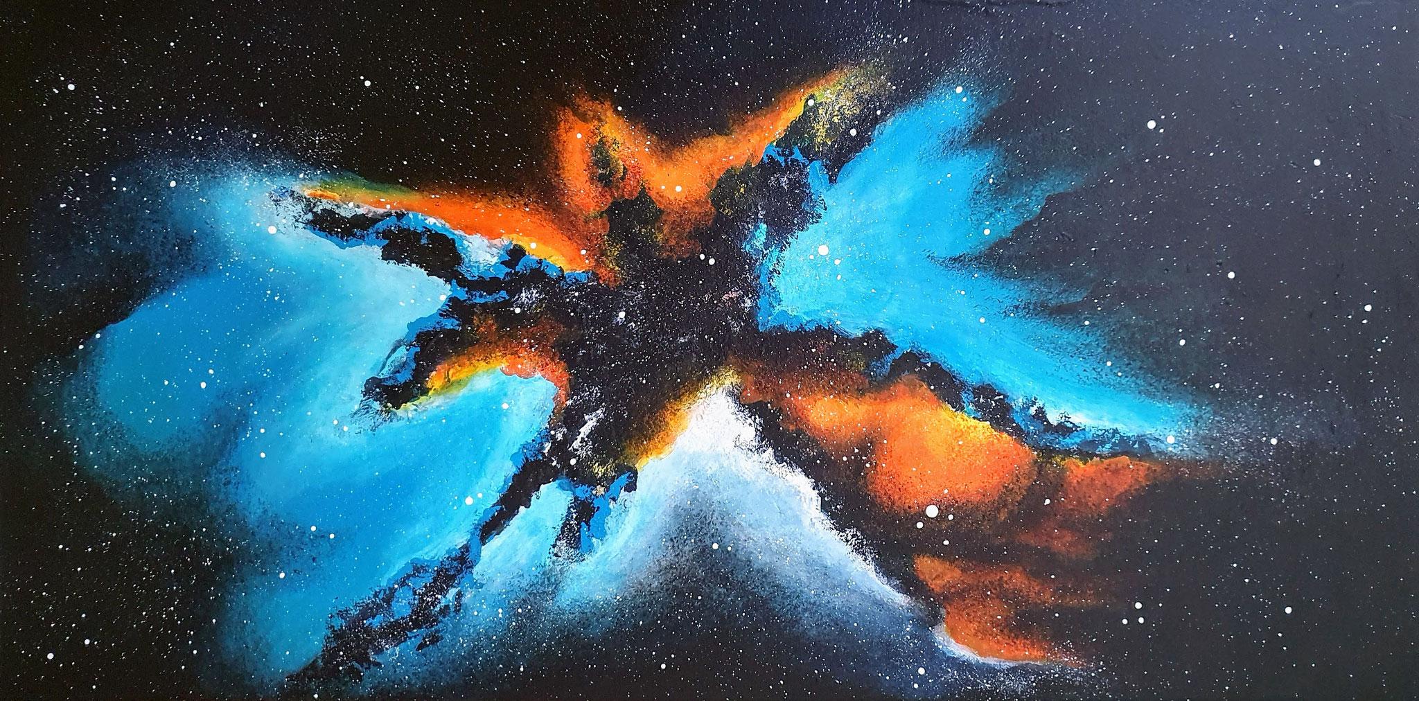 """Galaxy-Serie, Acryl auf Leinwand, 40x80cm, leuchtet im Dunkeln - CHF 750.- (Mehr Infos unter Rubrik """"Glows in the Dark"""")"""