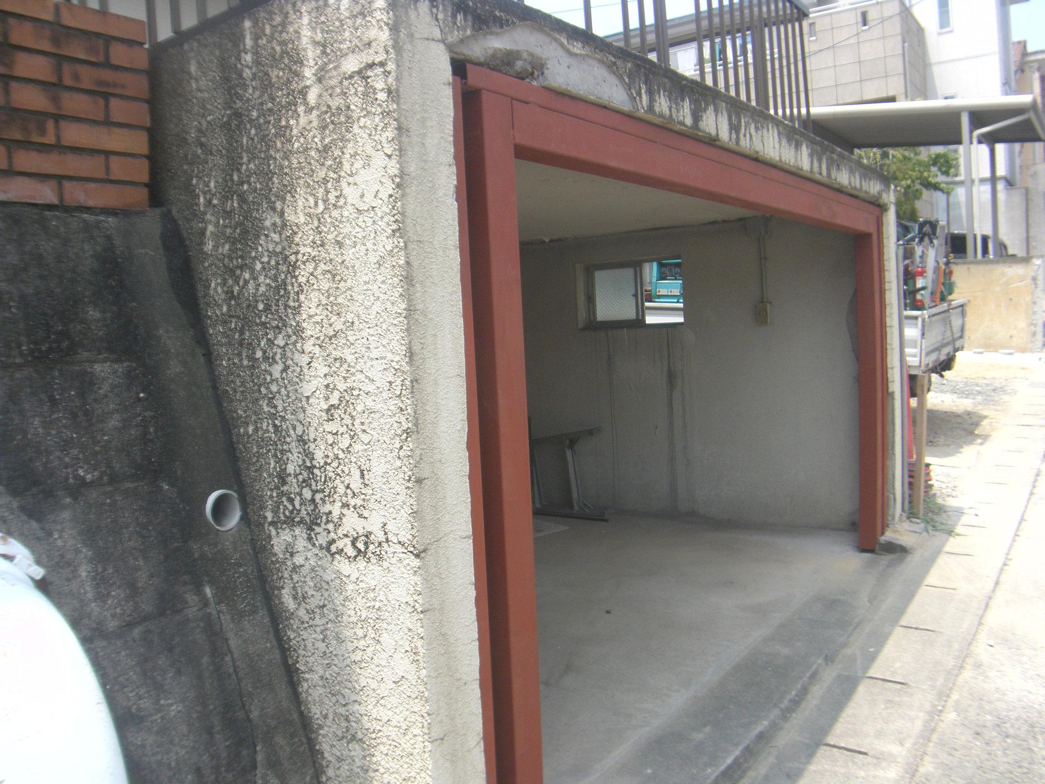 オーバースライダー鉄骨下地の工程写真