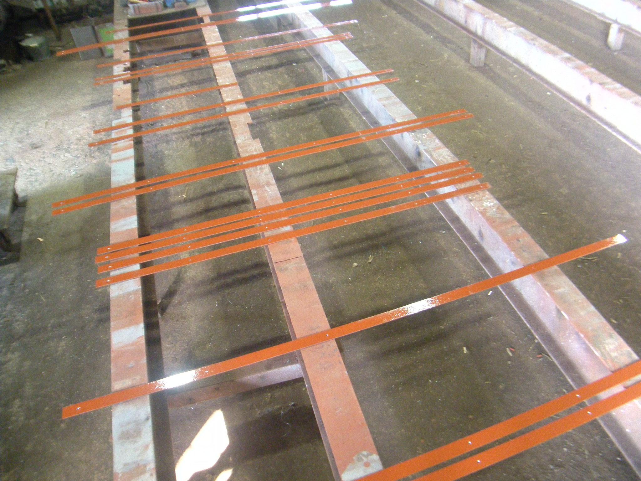 木造店舗サッシ下地平鋼:工程写真