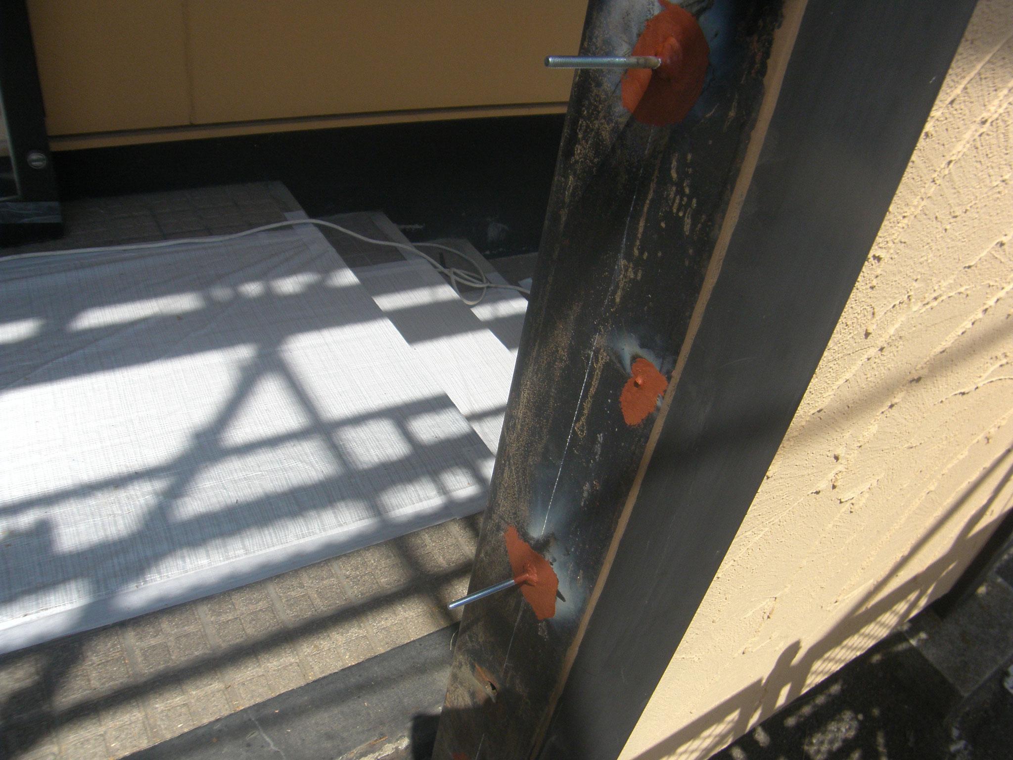店舗看板下地鉄骨工事:工程写真