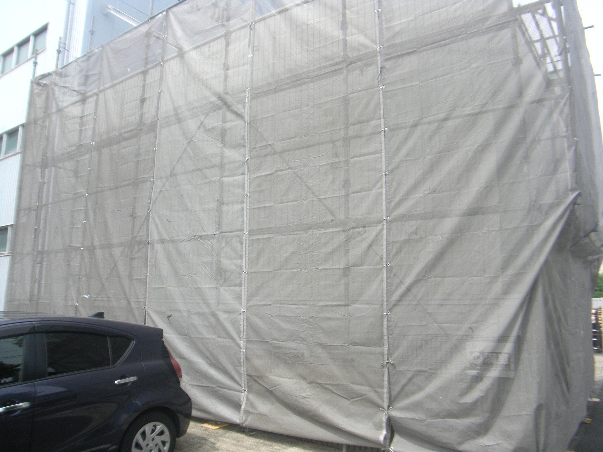 資材、製品置場壁改修:工程写真