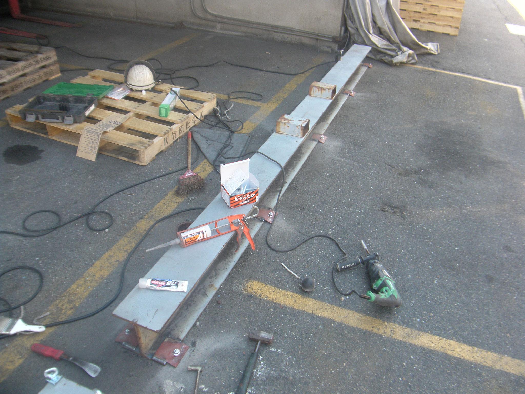 テントカーテン土台固定:工程写真