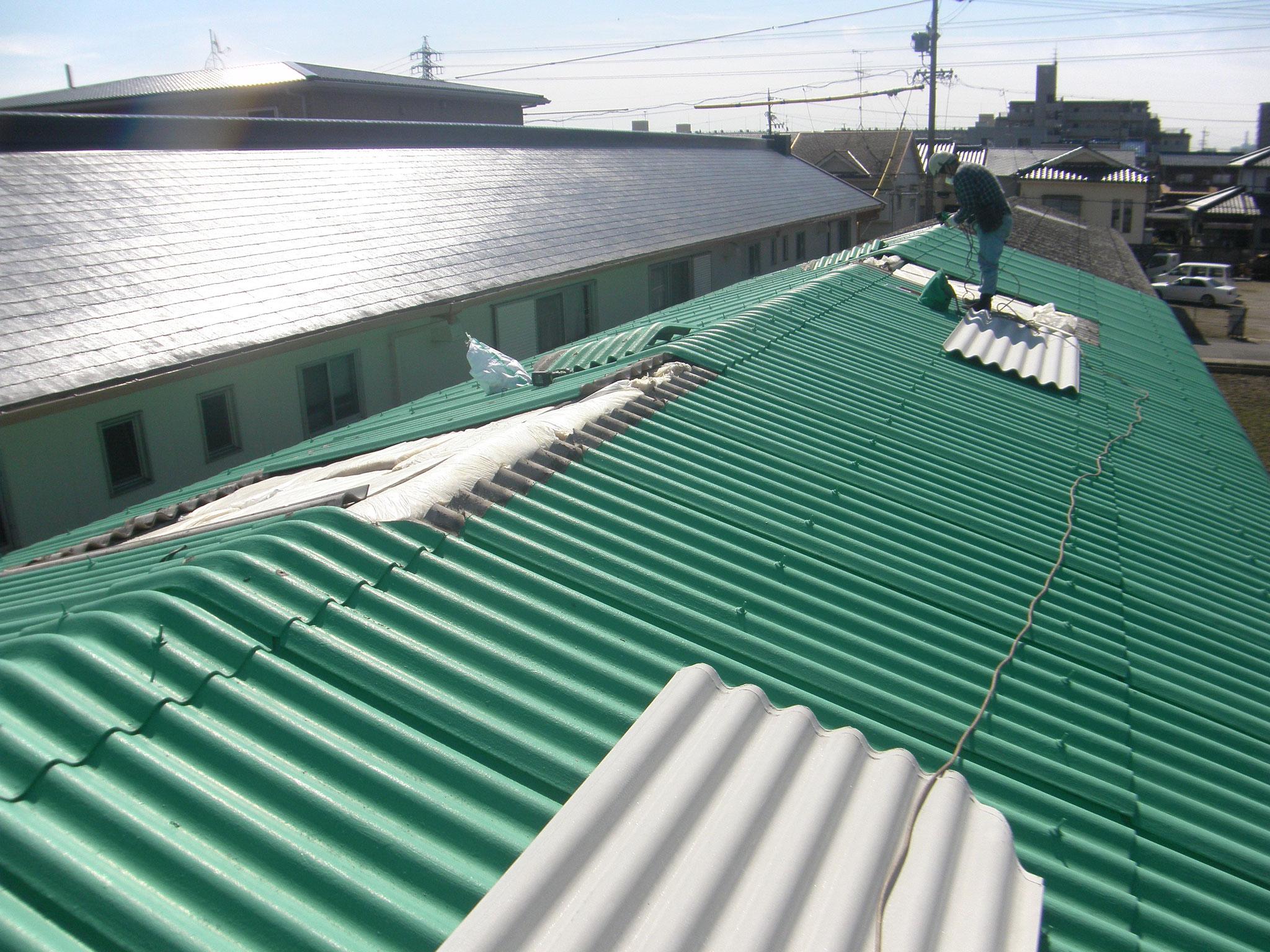 スレート屋根葺き替え:工程写真