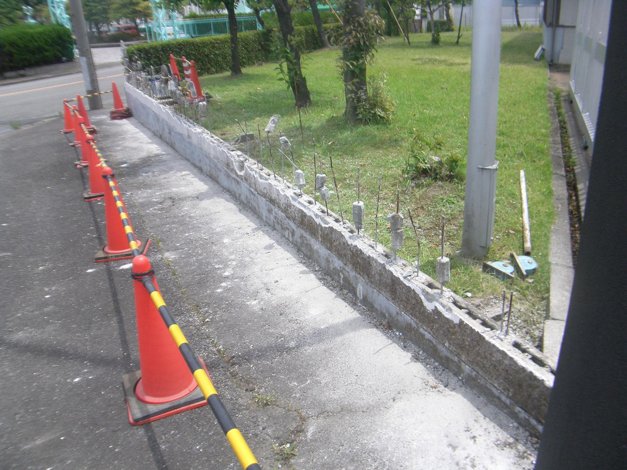 門柱・門塀改修工事:工程写真