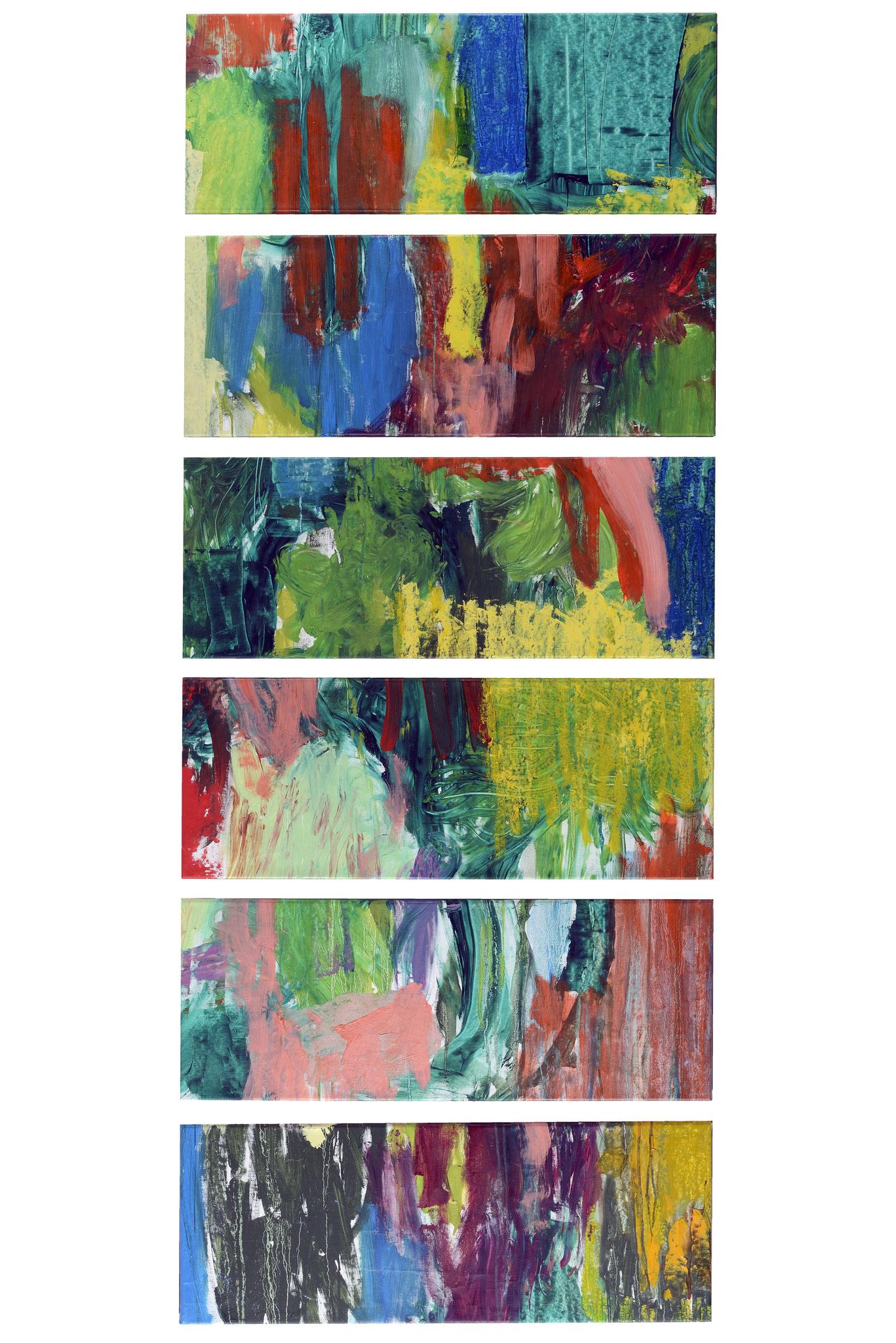 Dschungel des Lächelns / Objekt aus 6 Bildern / je 30cmx80cm / Öl auf Leinwand / 2015