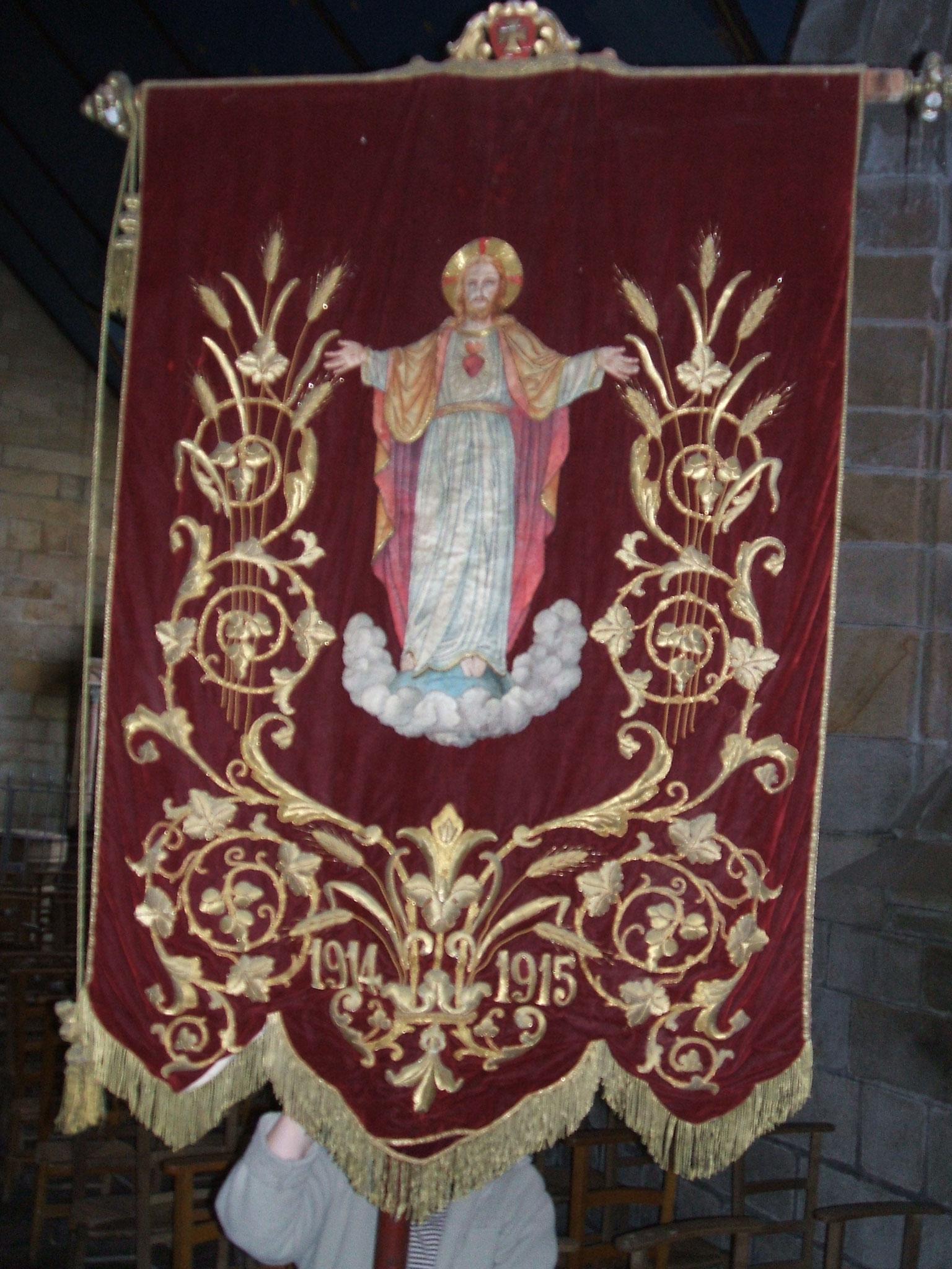 Bannière du Sacré-Cœur et Vierge 1914-1915.