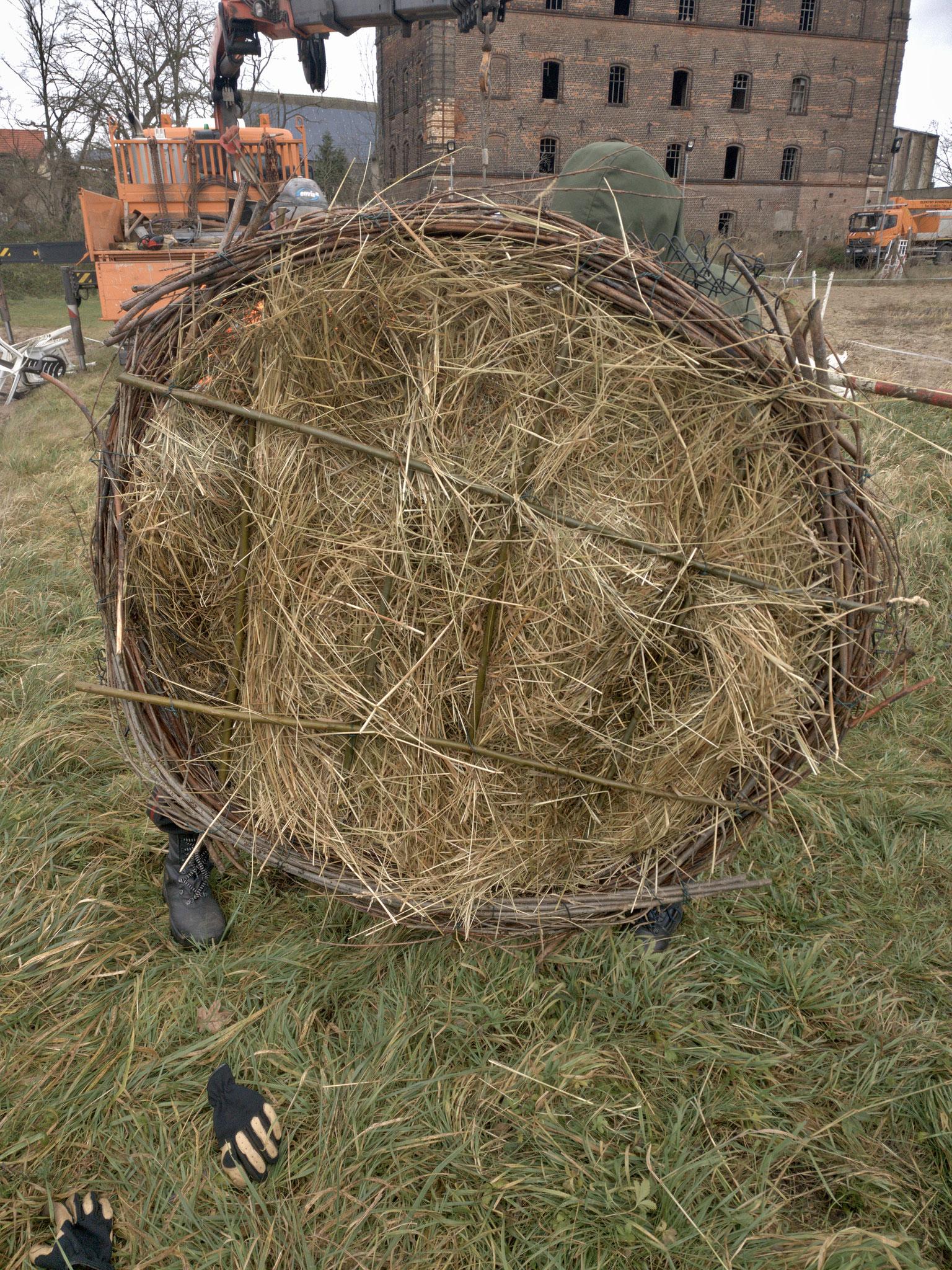 Das aus Weidenruten geflochtene Nest wird mit Heu gefüllt.