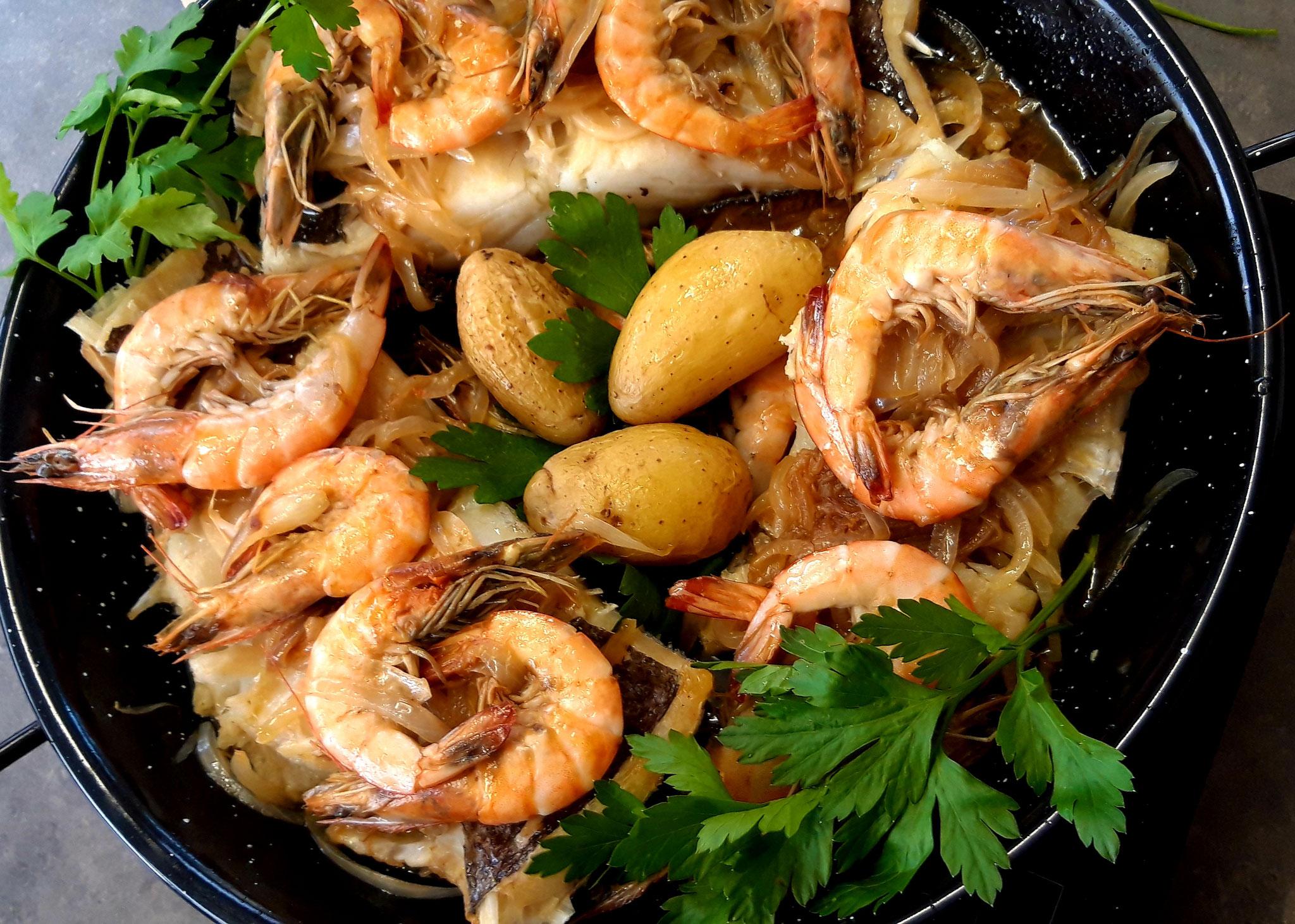 Bacalhau à Marquês - Morue aux Crevettes